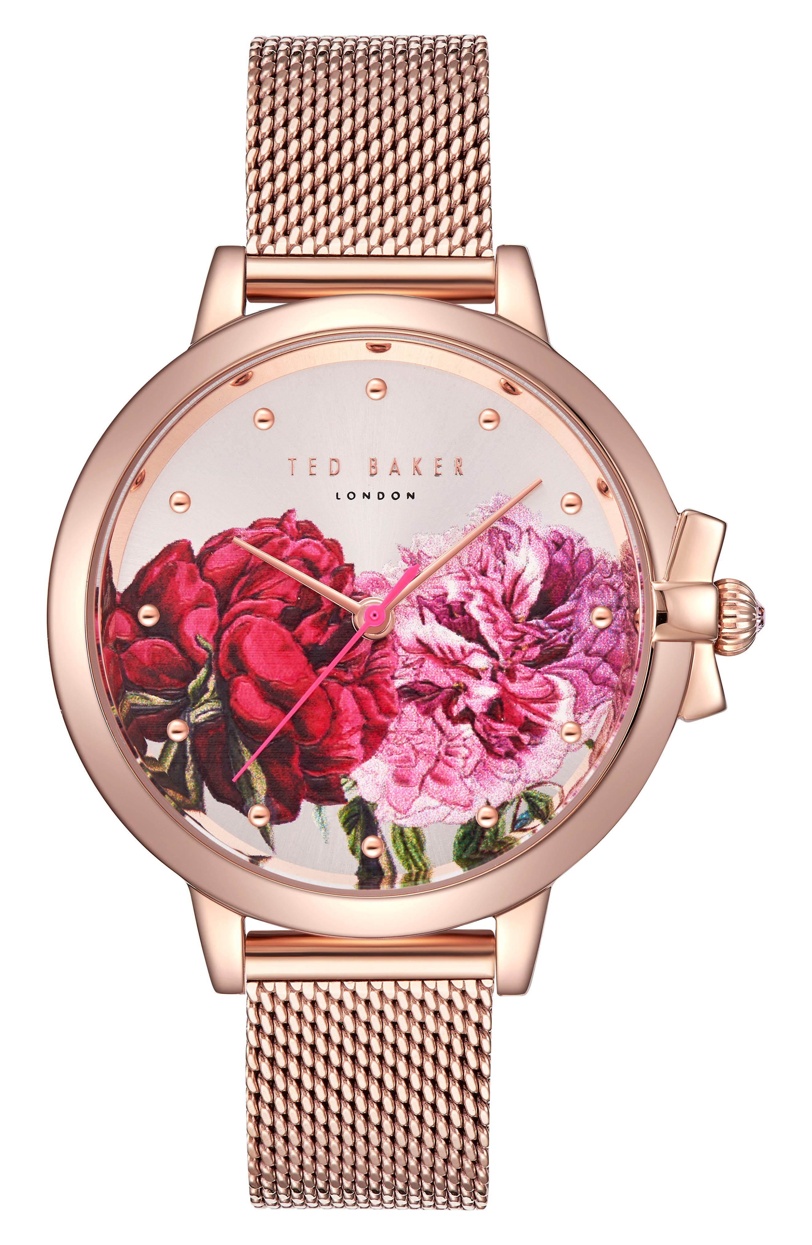 Mesh Strap Watch, 36mm,                         Main,                         color, Rose Gold/ Printed/ Rose Gold