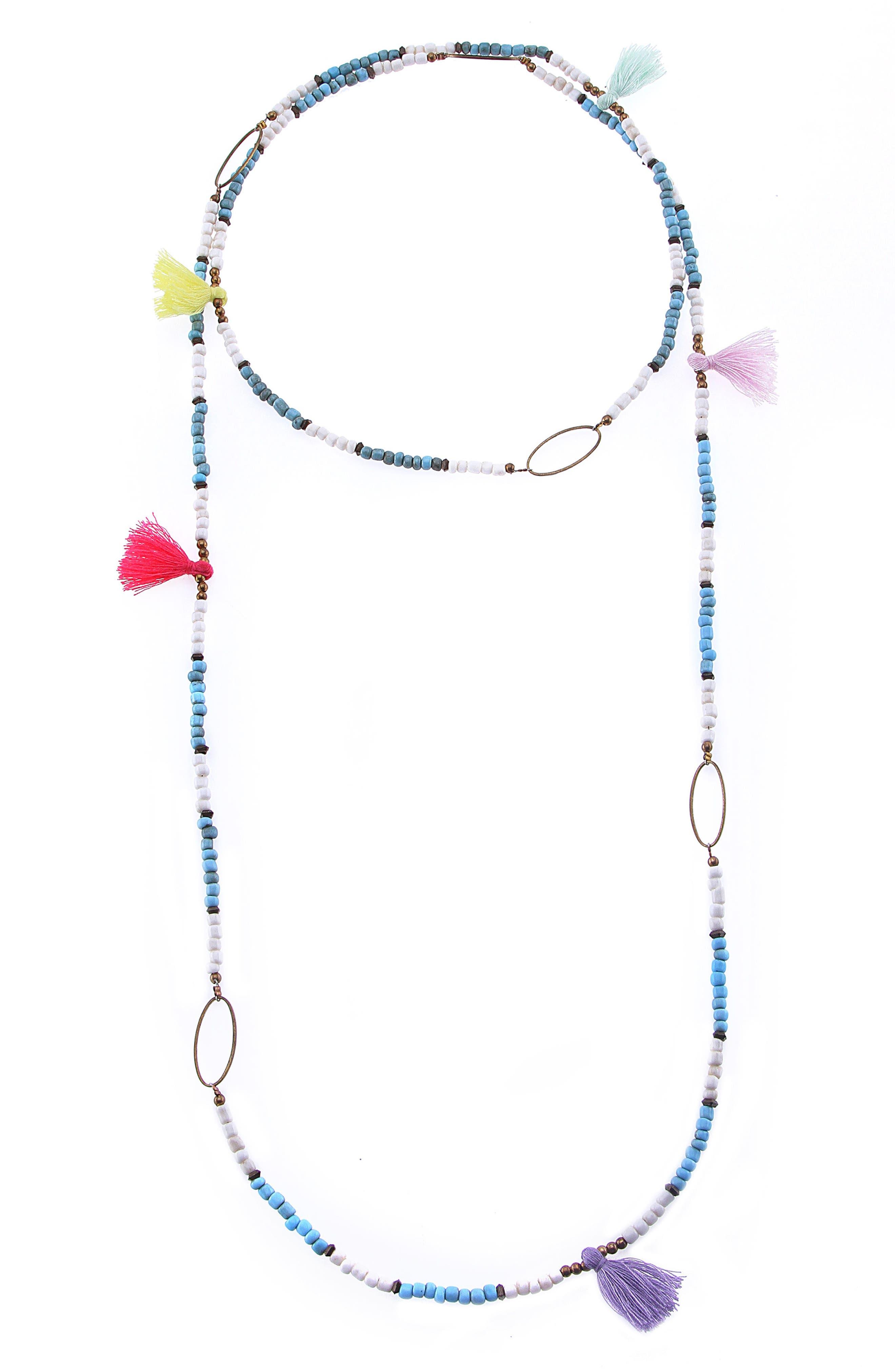 Long Beaded Tassel Necklace,                             Main thumbnail 1, color,                             Blue/ White