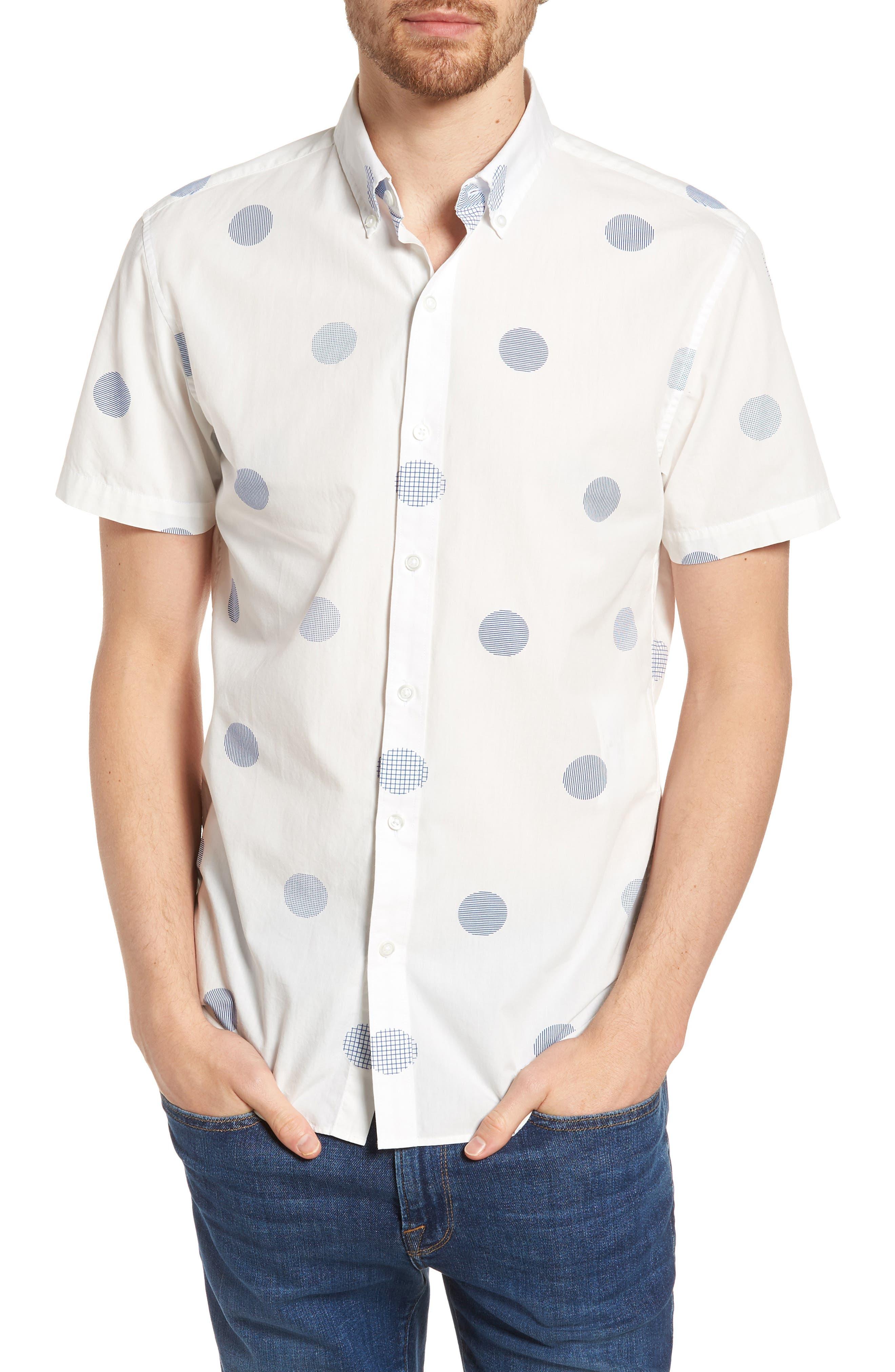 Slim Fit Polka Dot Sport Shirt,                         Main,                         color, Kingston Dot - Maritime Blue