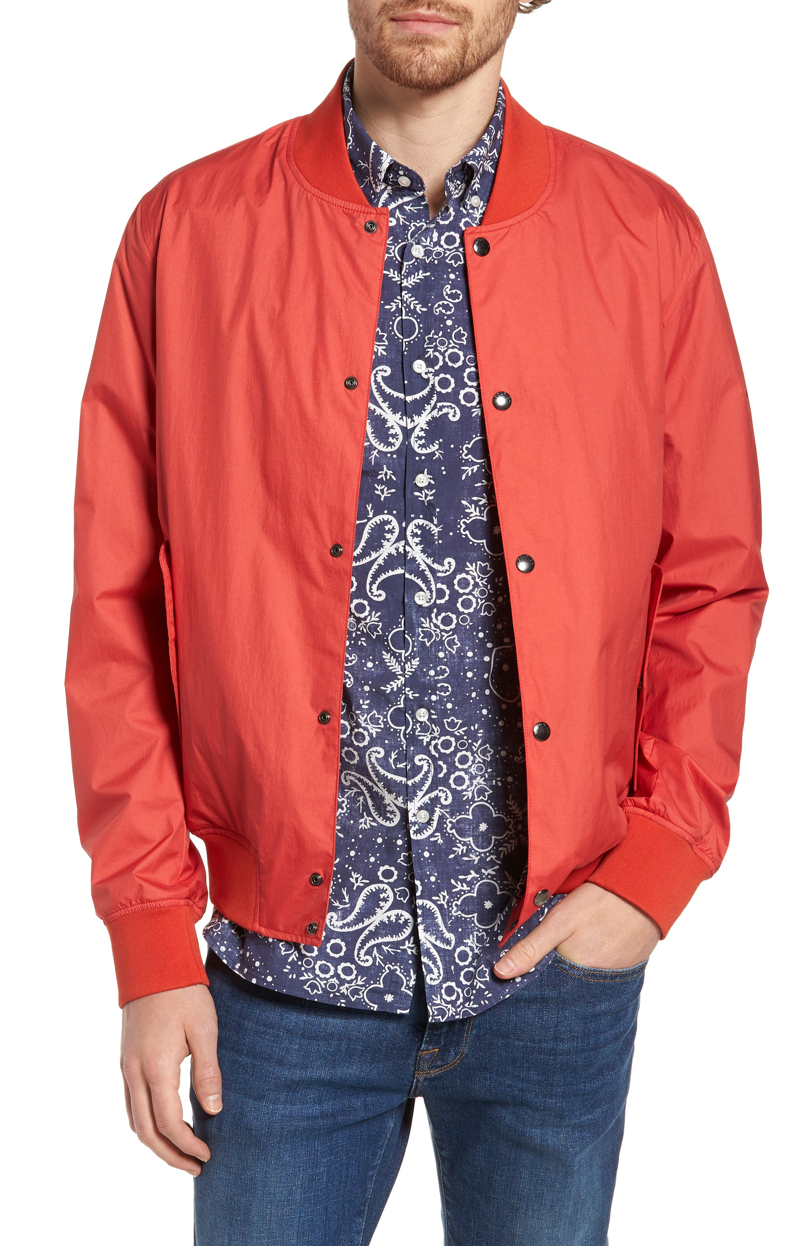 Wallaby Bomber Jacket,                         Main,                         color, Aurora Red