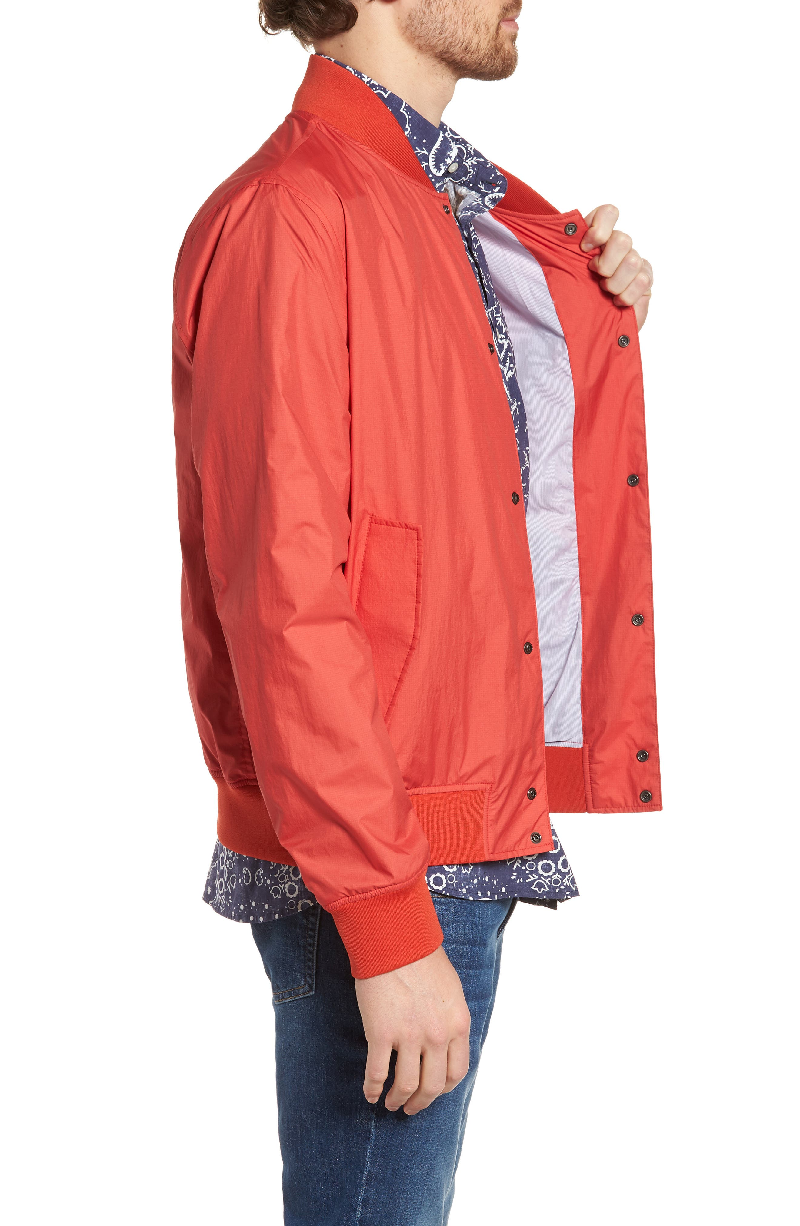 Wallaby Bomber Jacket,                             Alternate thumbnail 3, color,                             Aurora Red