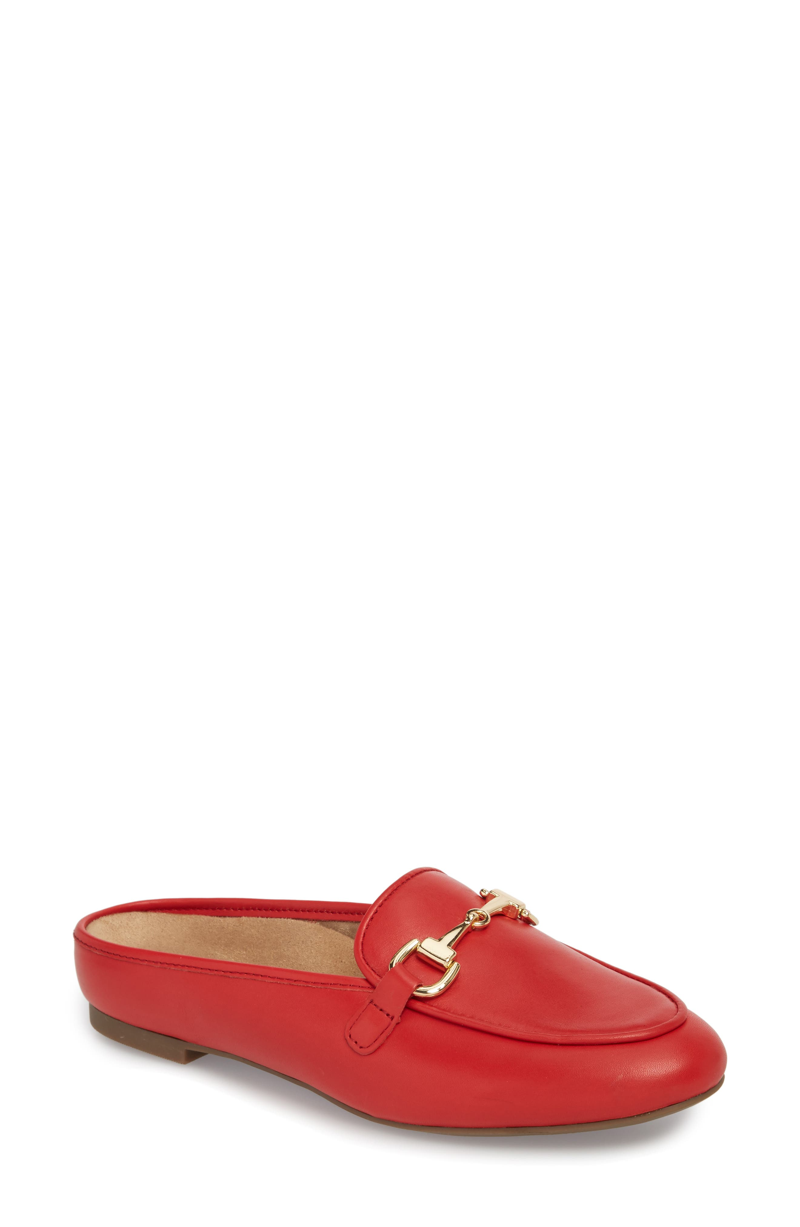 Adeline Mule,                         Main,                         color, Red Leather