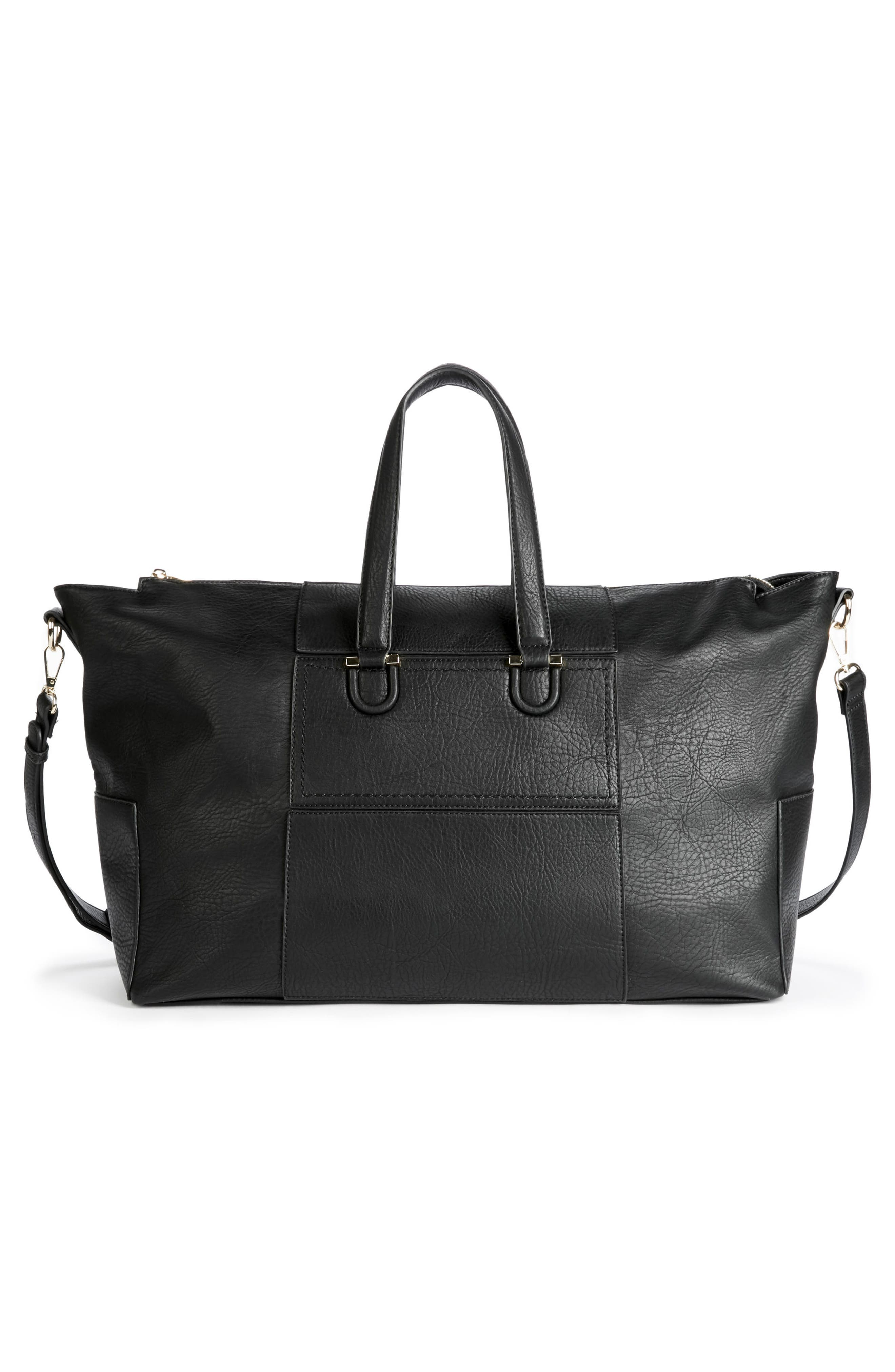 Cory Faux Leather Travel Tote,                             Alternate thumbnail 3, color,                             Black