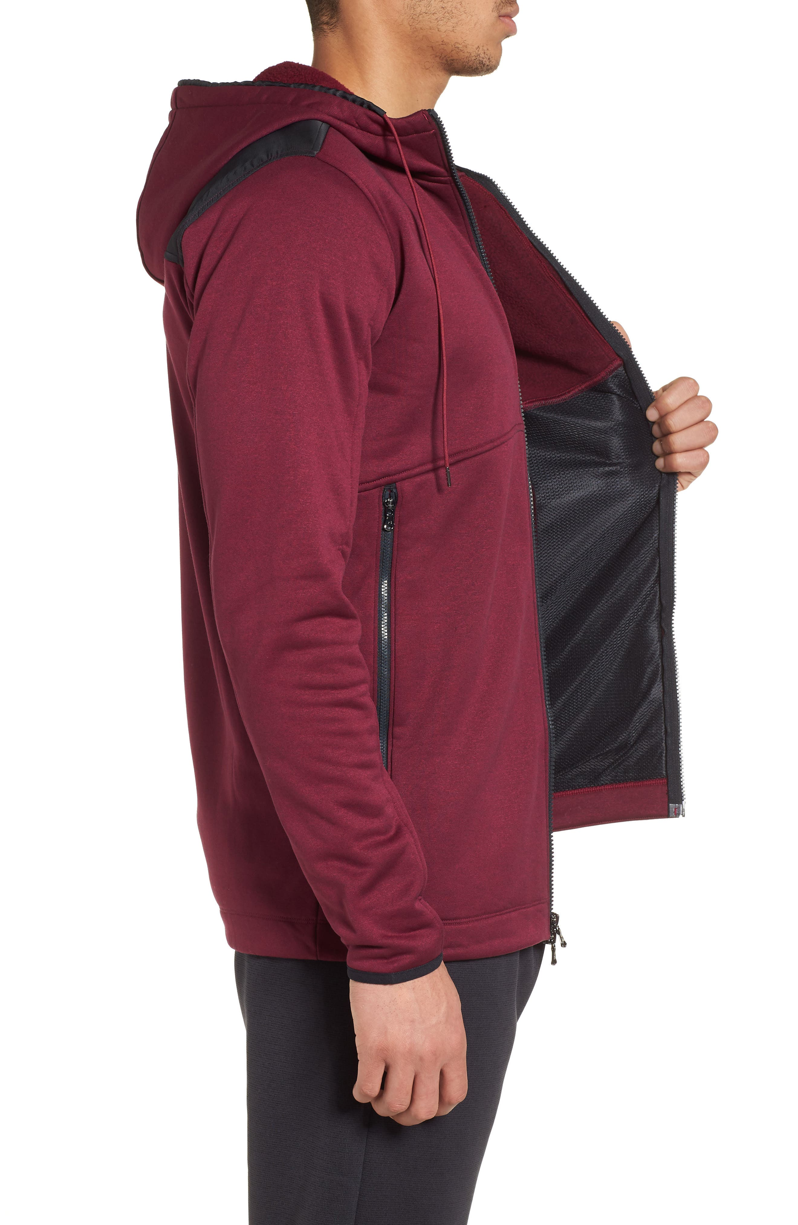 Courtside Stealth Zip Hoodie,                             Alternate thumbnail 3, color,                             Black Currant / Black