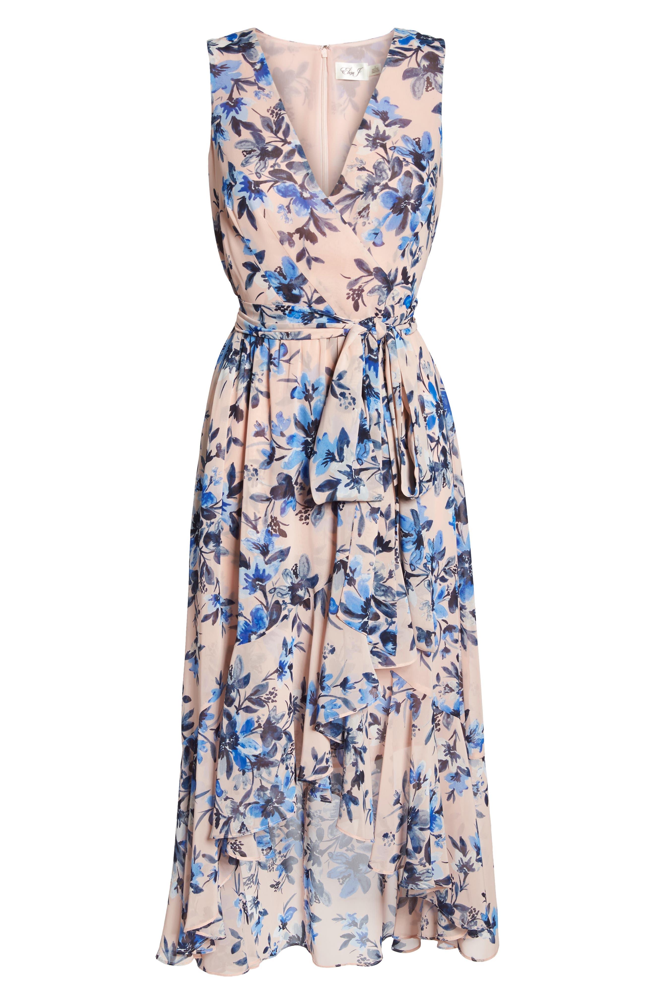 Sleeveless High/Low Dress,                             Alternate thumbnail 6, color,                             Blush/ Blue