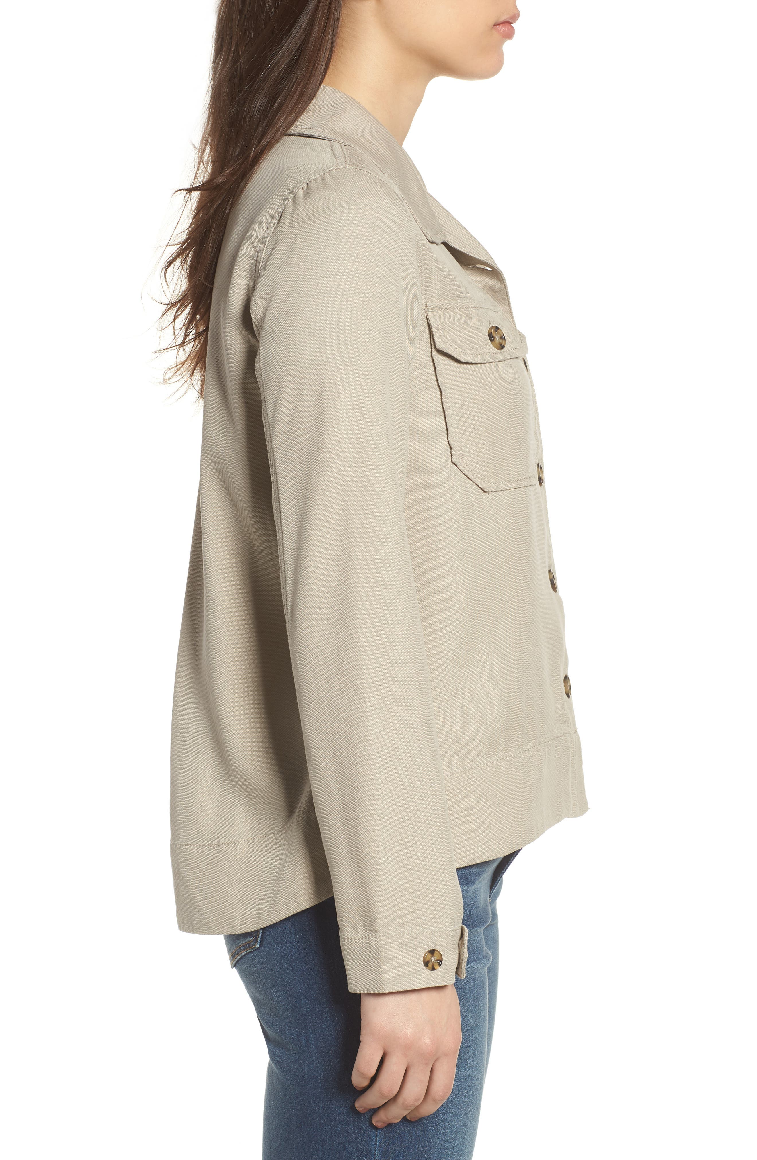 Flyaway Shirt Jacket,                             Alternate thumbnail 3, color,                             Chateau Gray
