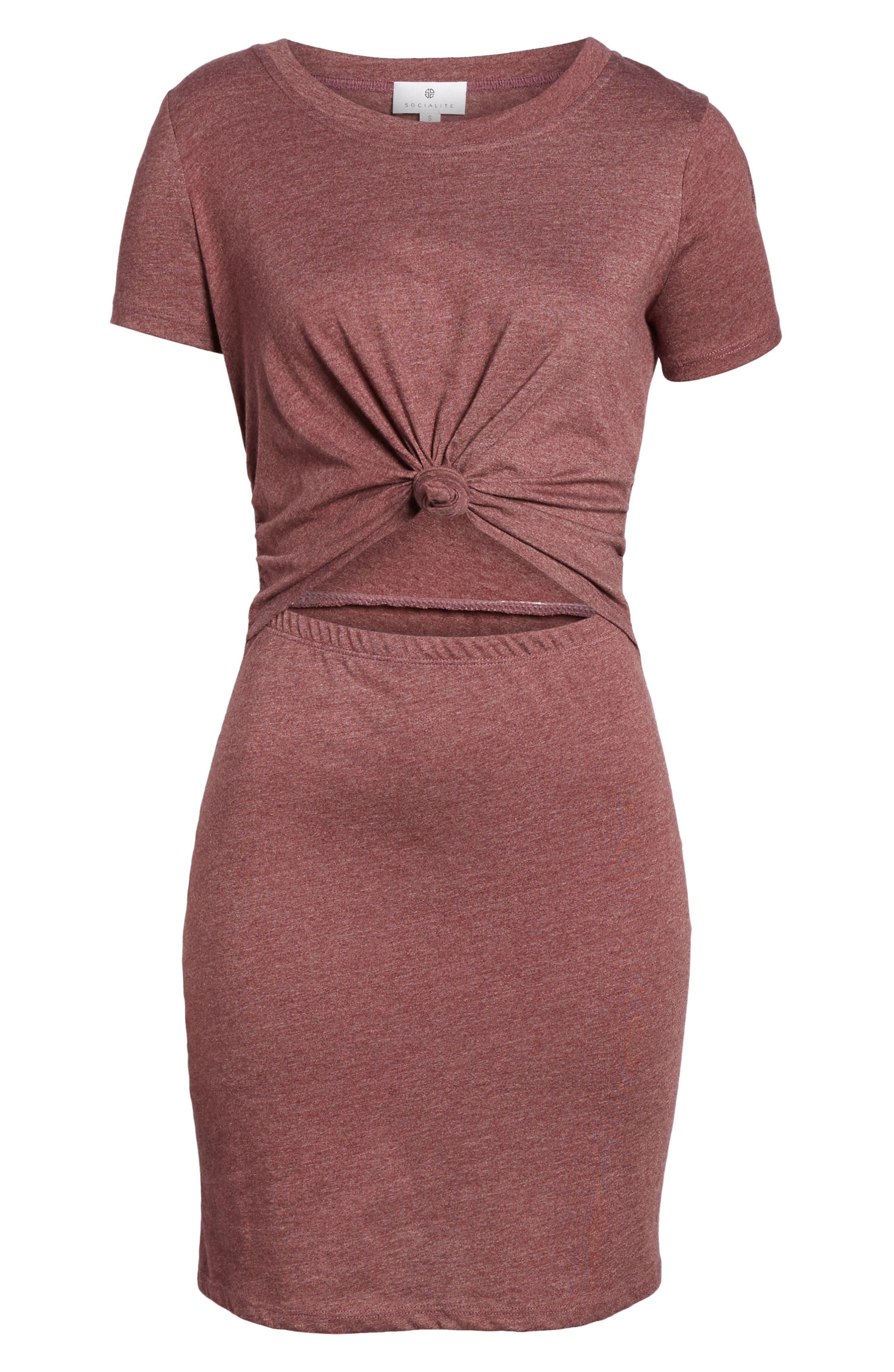 Knot Front Cutout T-Shirt Dress,                             Alternate thumbnail 6, color,                             Burgundy