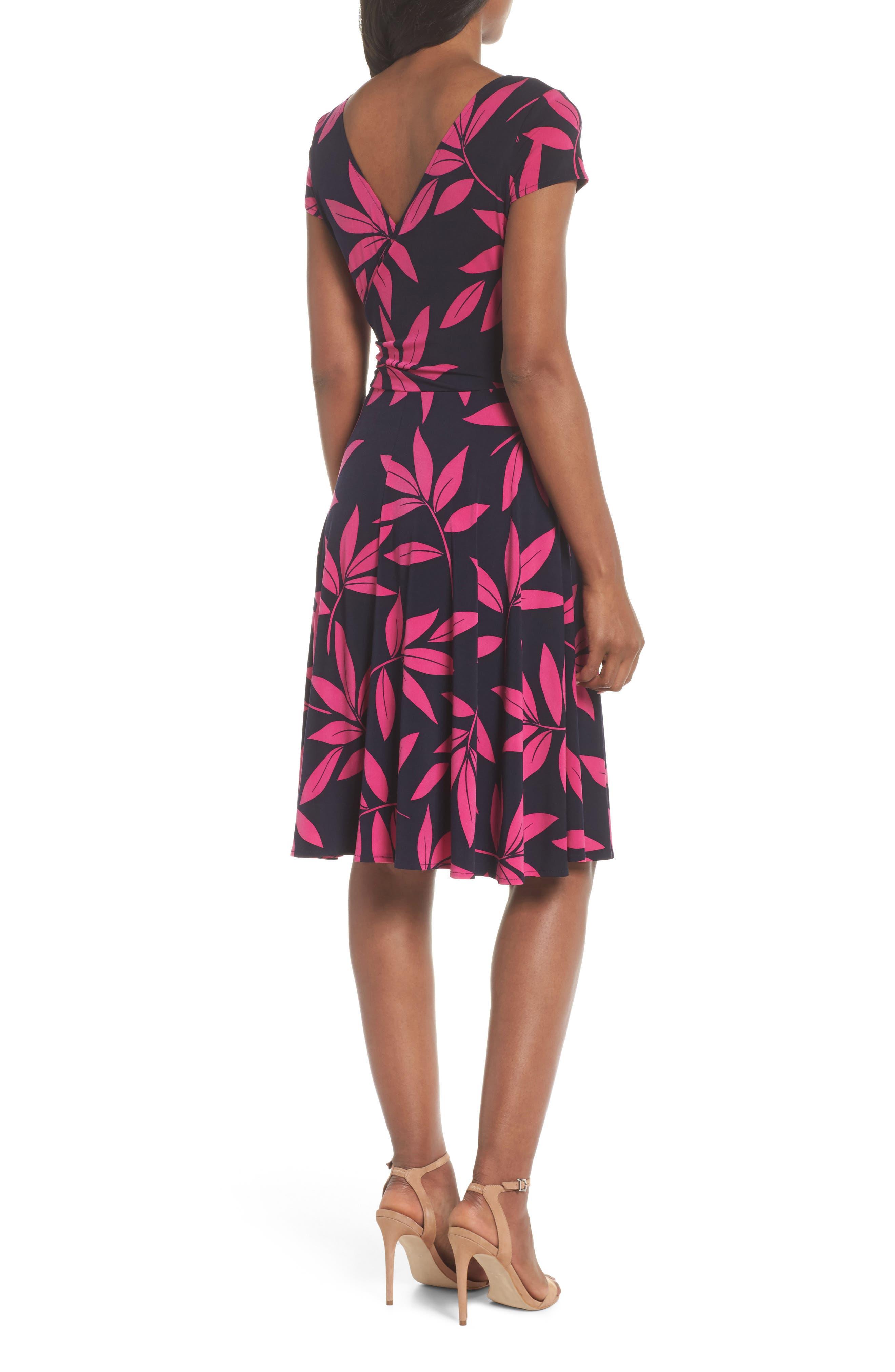 Leaf Print Faux Wrap Dress,                             Alternate thumbnail 2, color,                             Navy/ Pink Posie