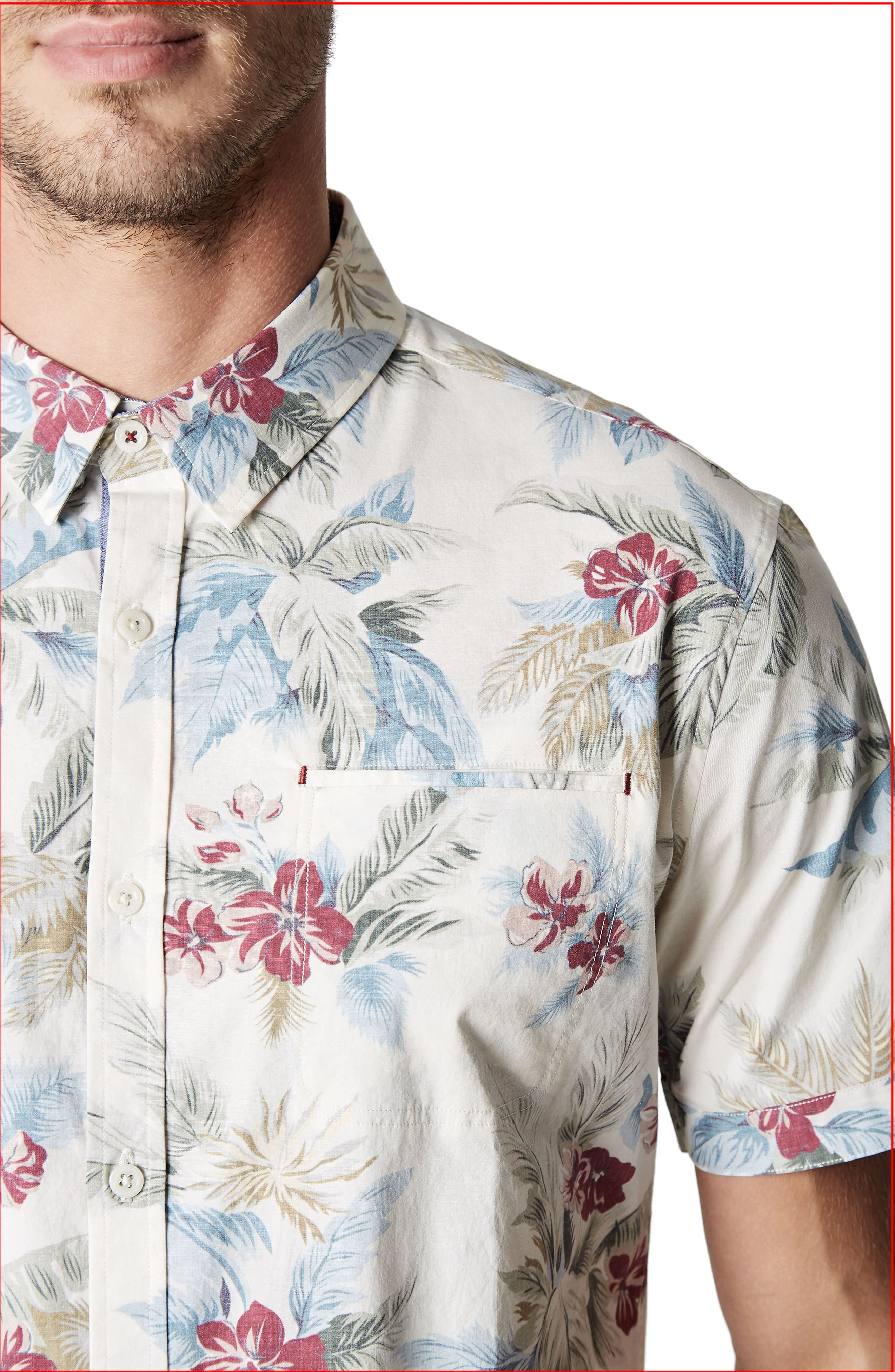 Island in the Sun Trim Fit Short Sleeve Sport Shirt,                             Alternate thumbnail 4, color,                             Natural