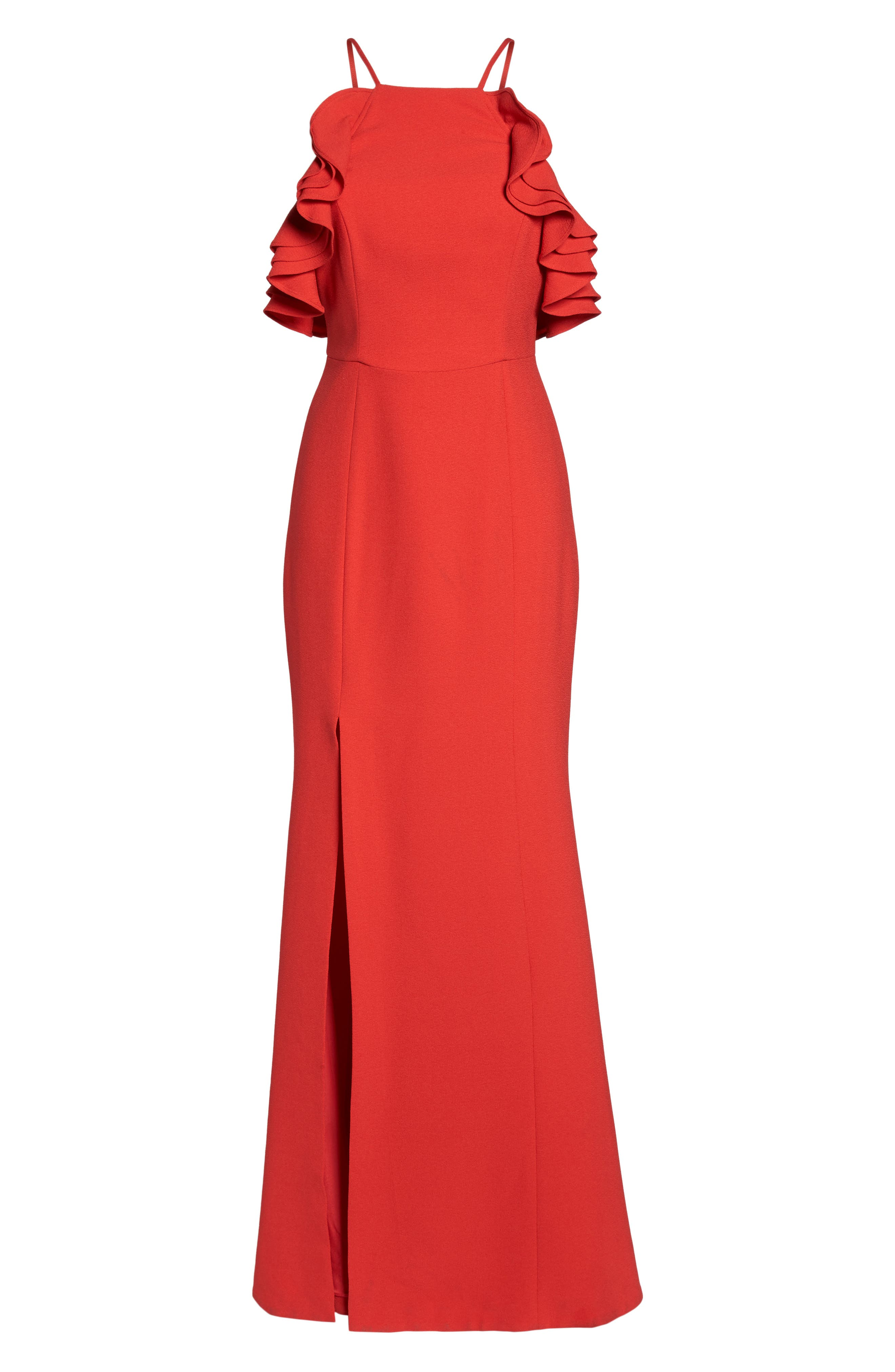 Ruffle Halter Gown,                             Alternate thumbnail 6, color,                             Cherry