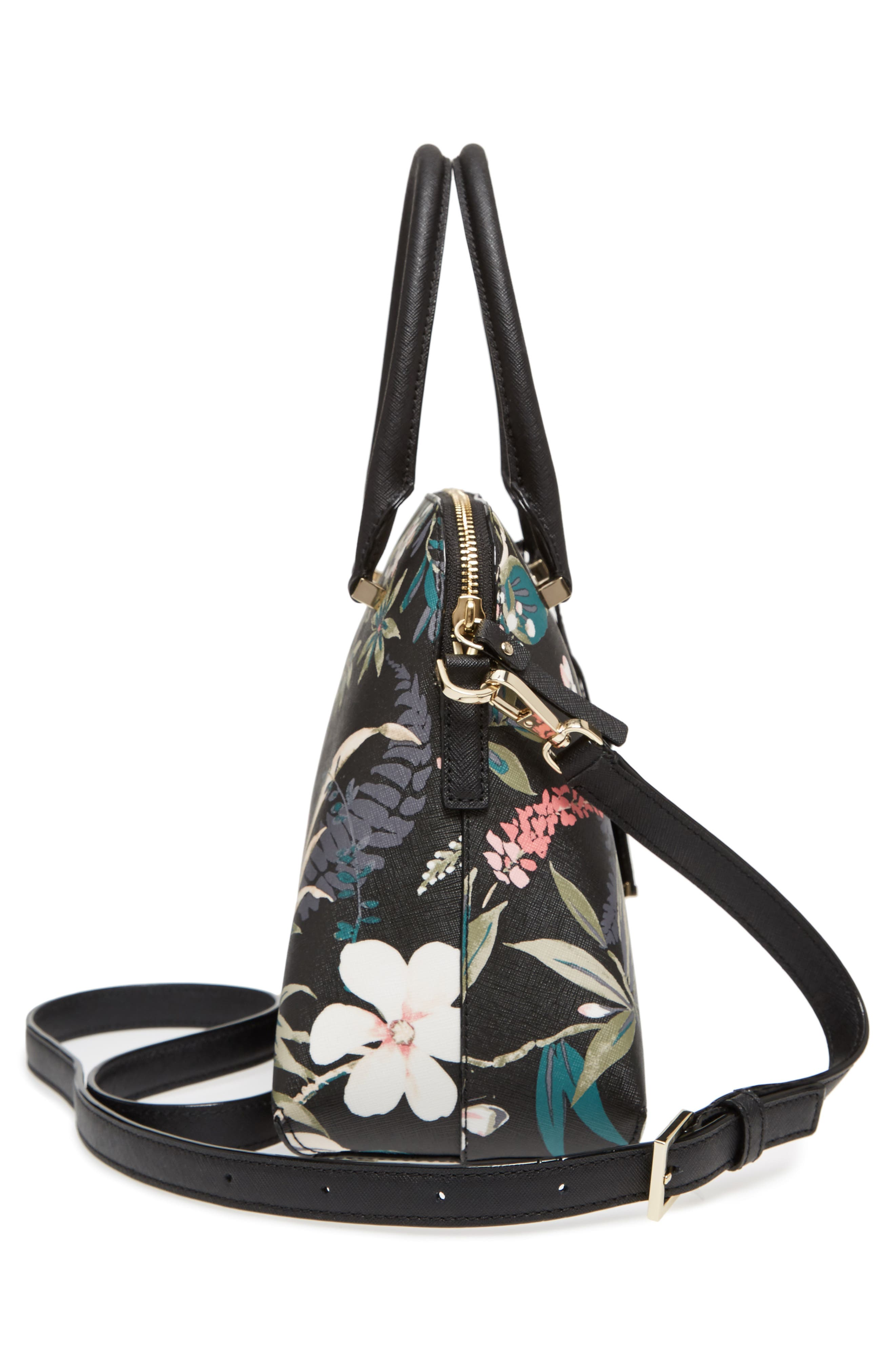 cameron street botanical maise faux leather satchel,                             Alternate thumbnail 5, color,                             Black Multi