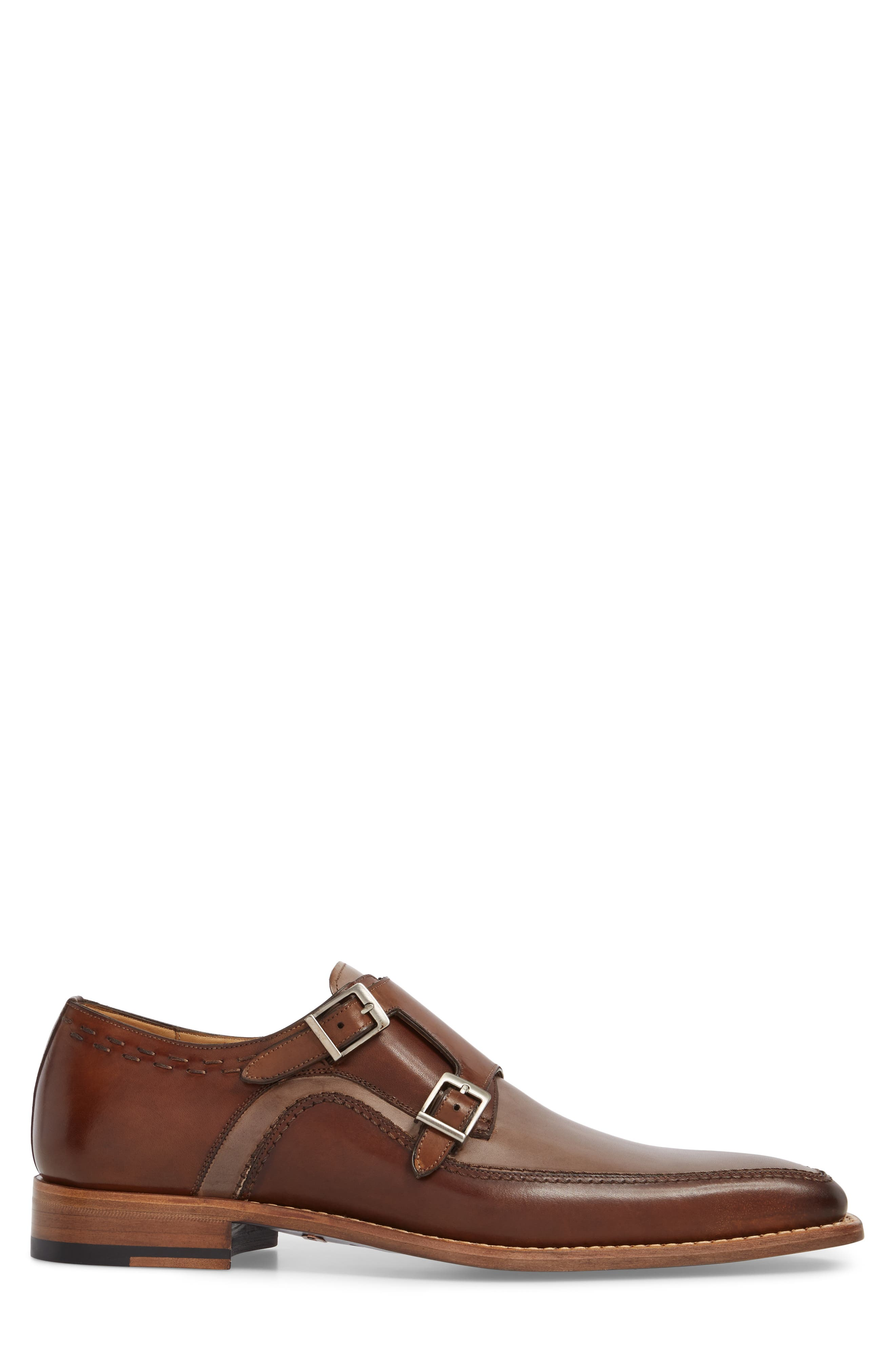 Magno Double Monk Strap Shoe,                             Alternate thumbnail 3, color,                             Brown Leather