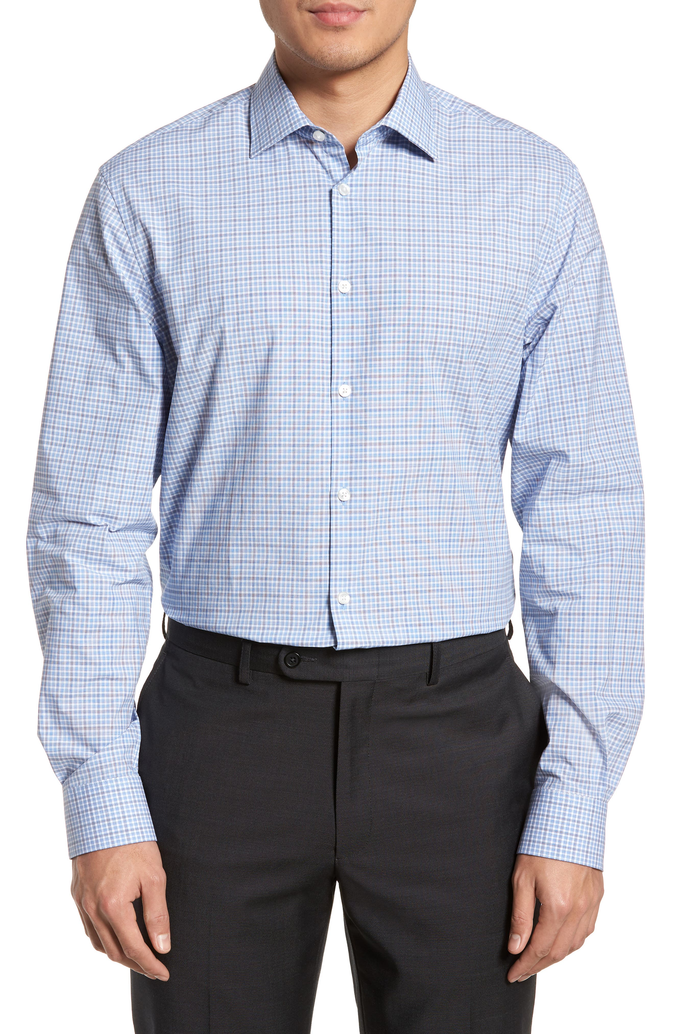 Regular Fit Stretch Check Dress Shirt,                             Main thumbnail 1, color,                             Sky
