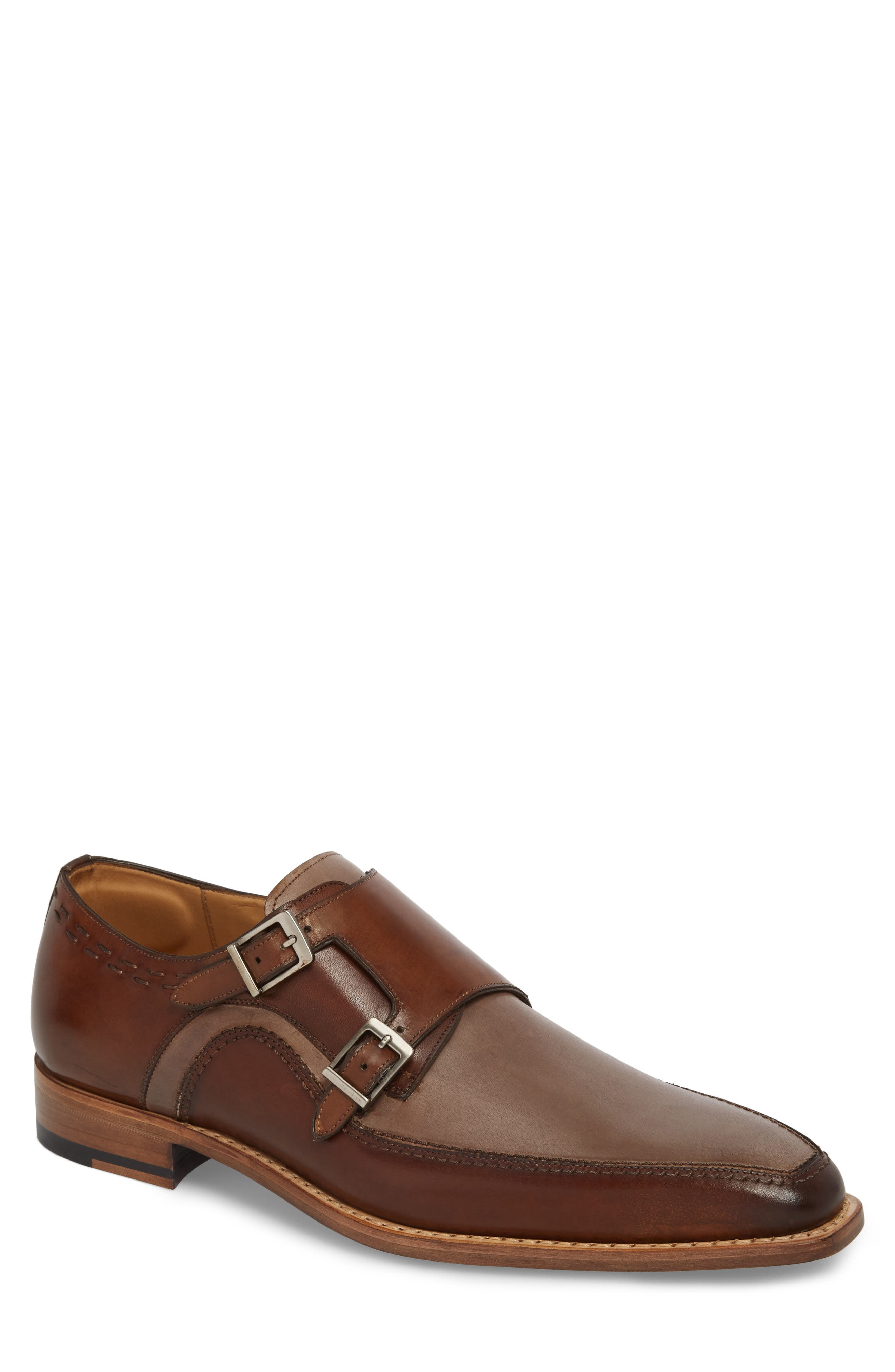 Magno Double Monk Strap Shoe,                         Main,                         color, Brown Leather