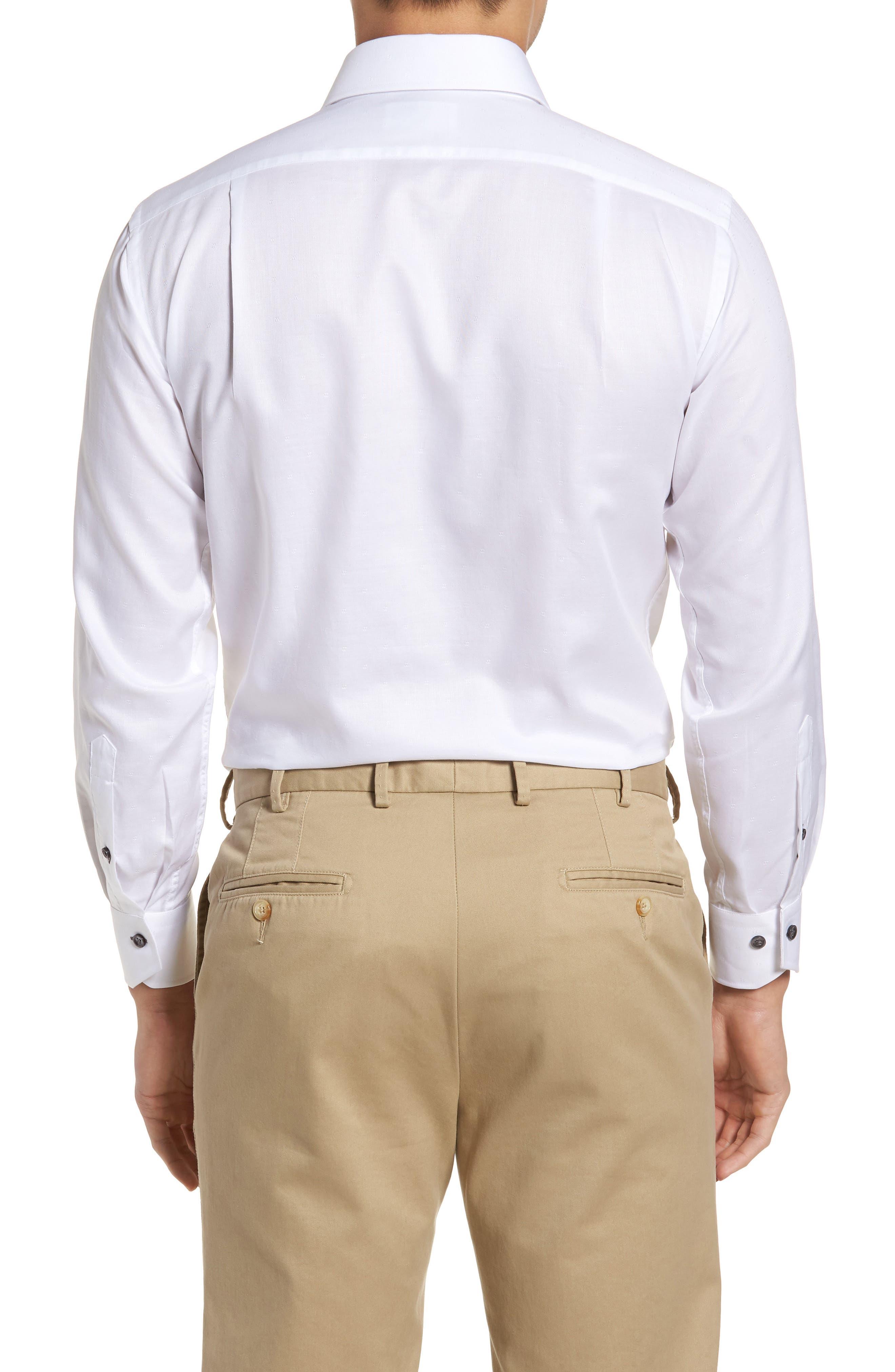 Trim Fit Textured Dress Shirt,                             Alternate thumbnail 3, color,                             White