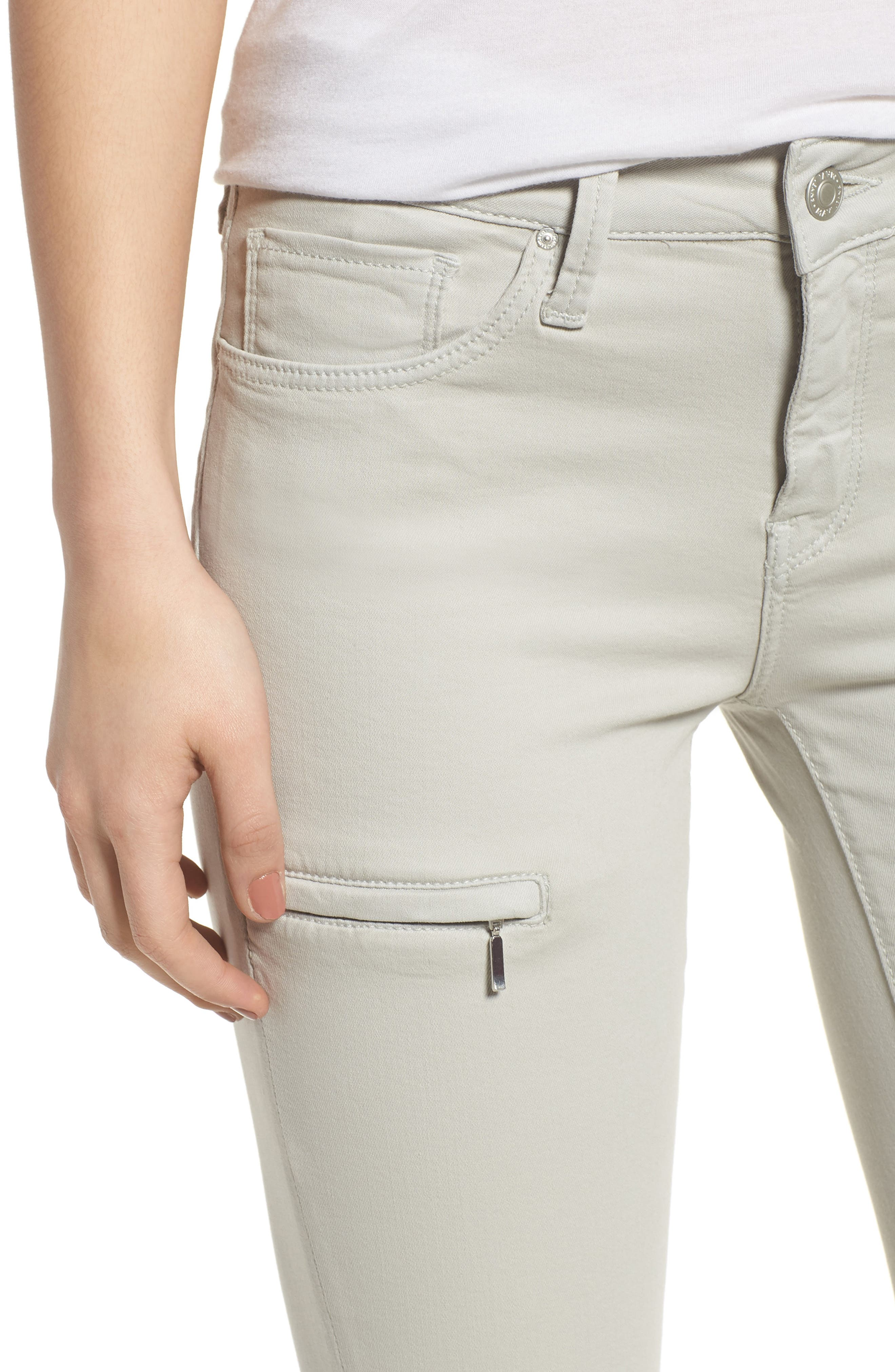 Mavi Karlina Skinny Cargo Pants,                             Alternate thumbnail 4, color,                             Glacier Grey Twill
