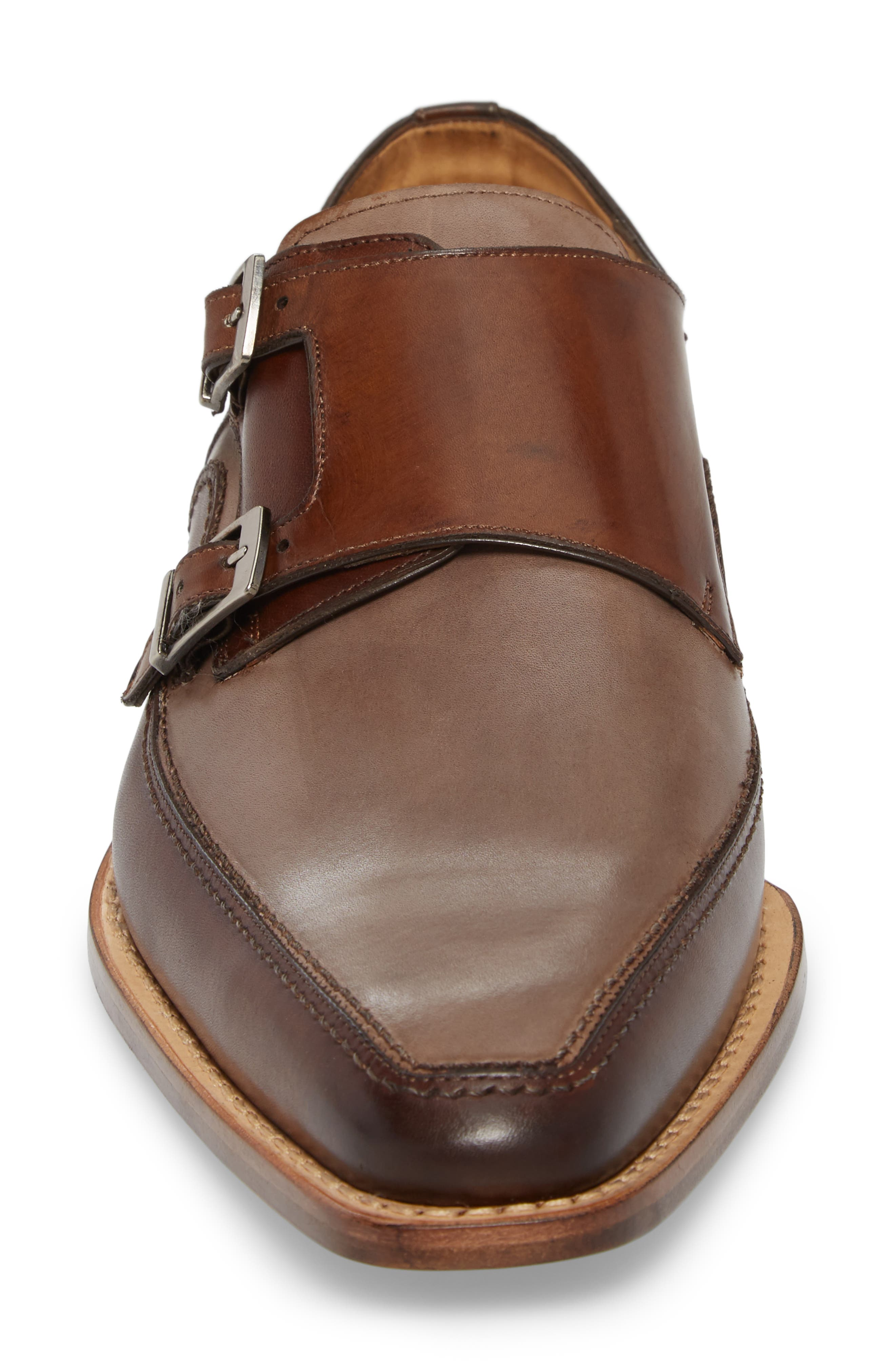 Magno Double Monk Strap Shoe,                             Alternate thumbnail 4, color,                             Brown Leather