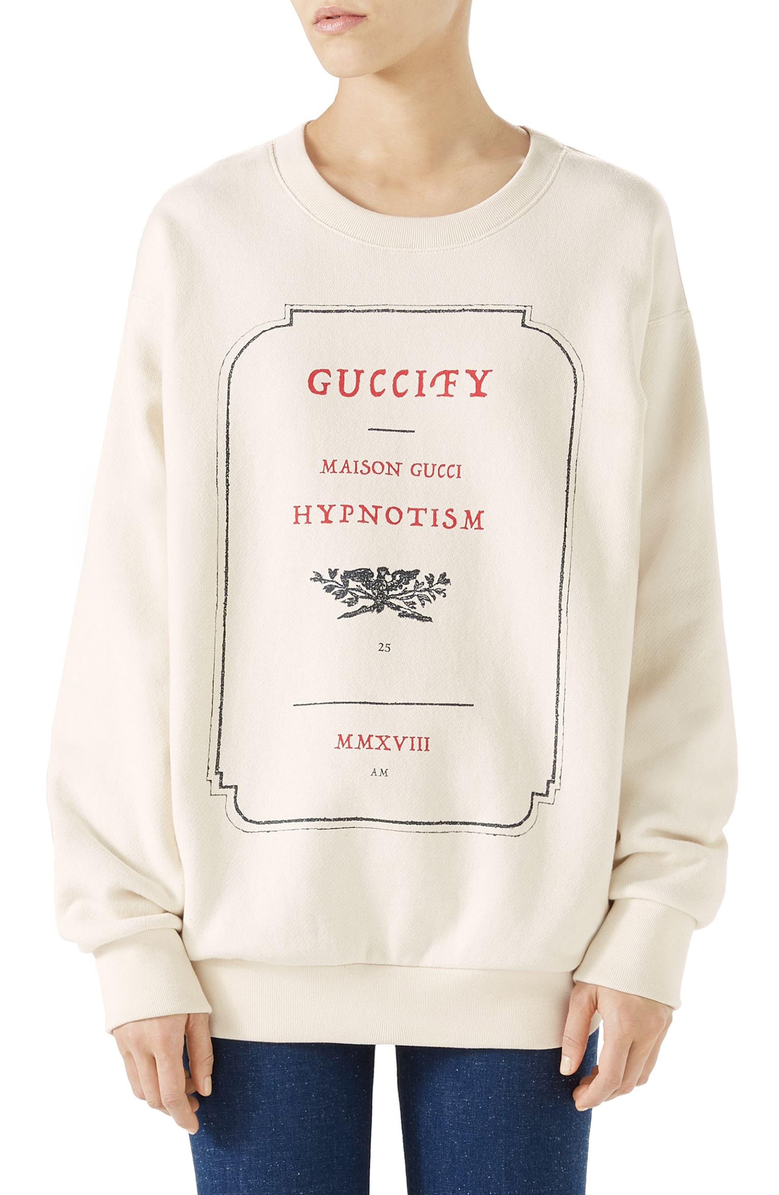 Hypnotism Graphic Sweatshirt,                             Main thumbnail 1, color,                             Natural White/ Multicolor