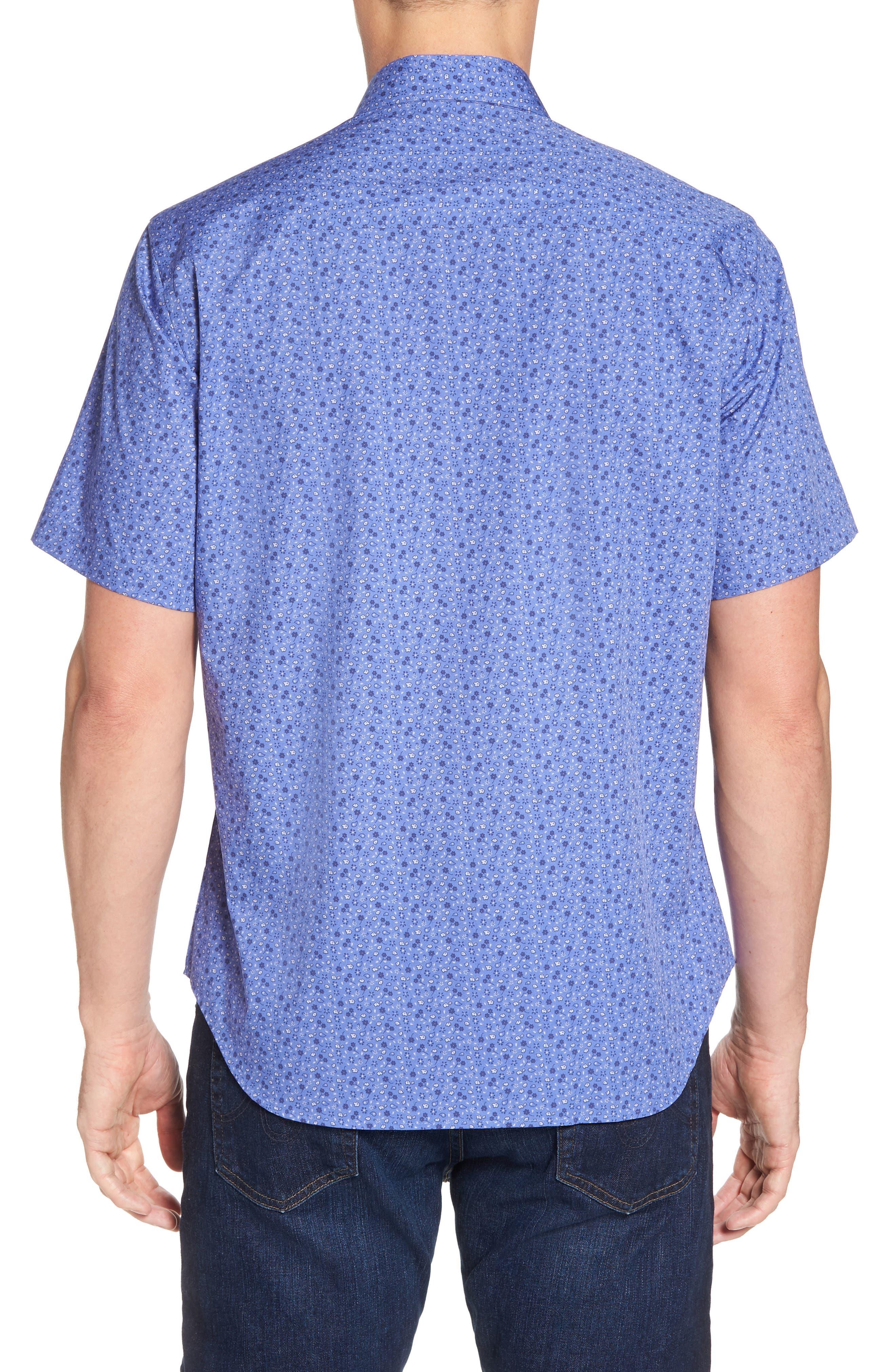 Ballou Regular Fit Floral Print Sport Shirt,                             Alternate thumbnail 2, color,                             Royal