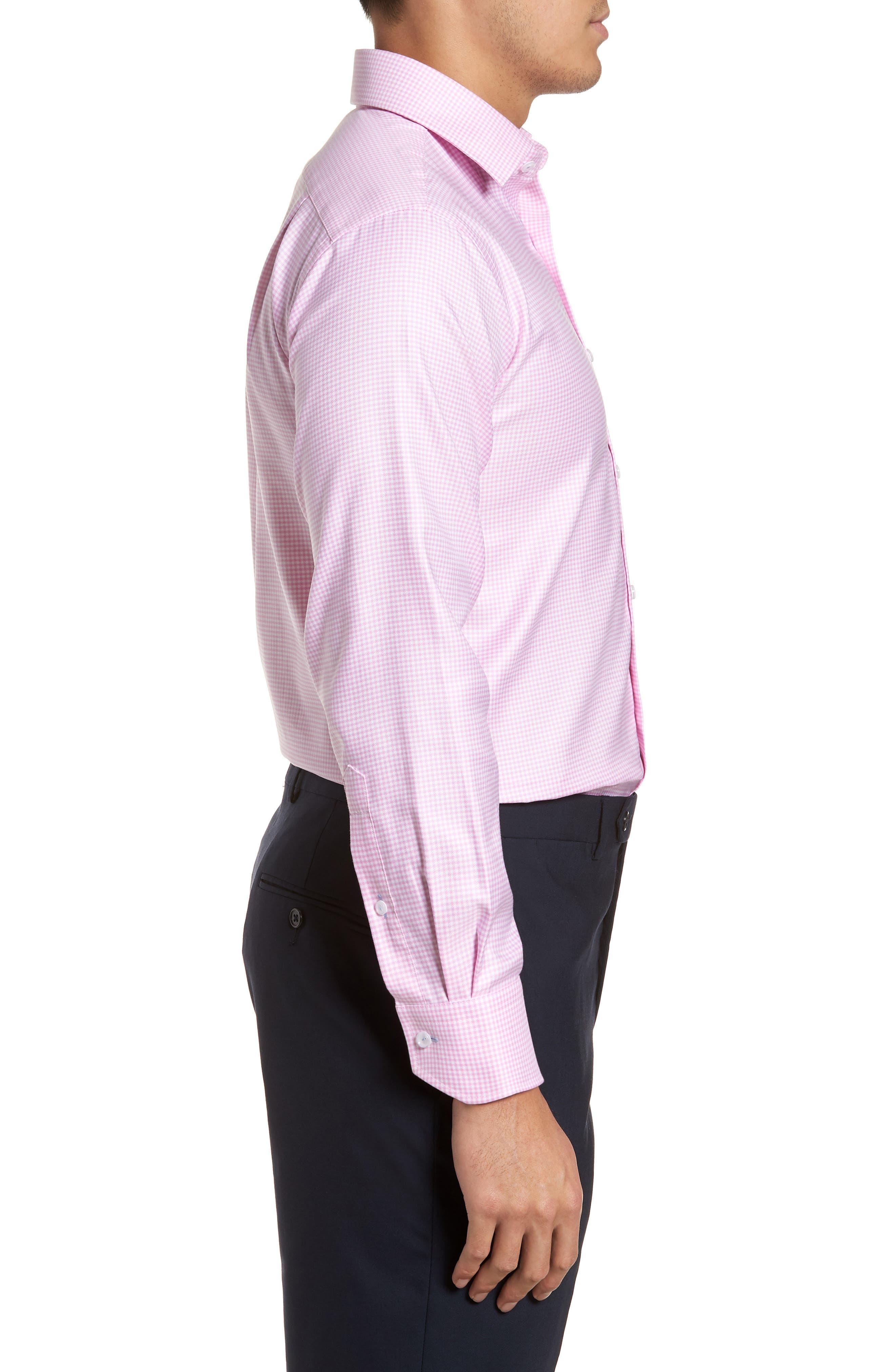 Trim Fit Textured Gingham Dress Shirt,                             Alternate thumbnail 4, color,                             Pink