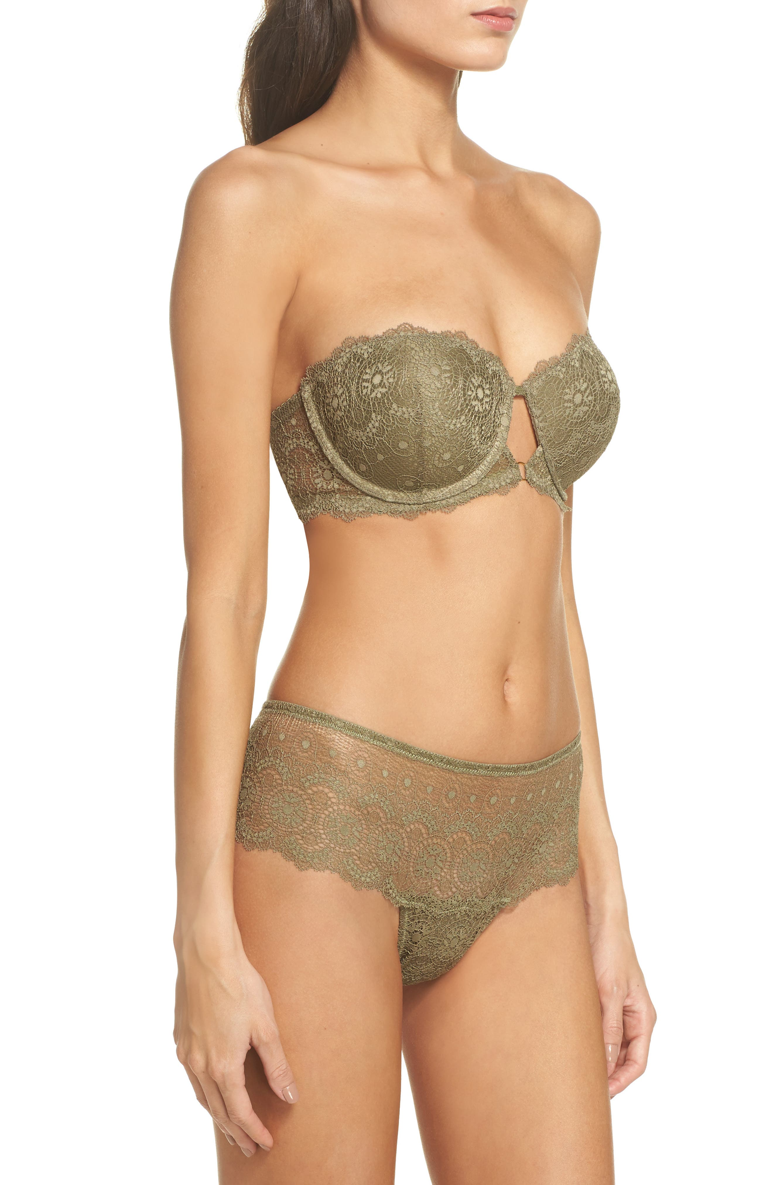 Strapless Underwire Lace Bra,                             Alternate thumbnail 9, color,                             Mermaid