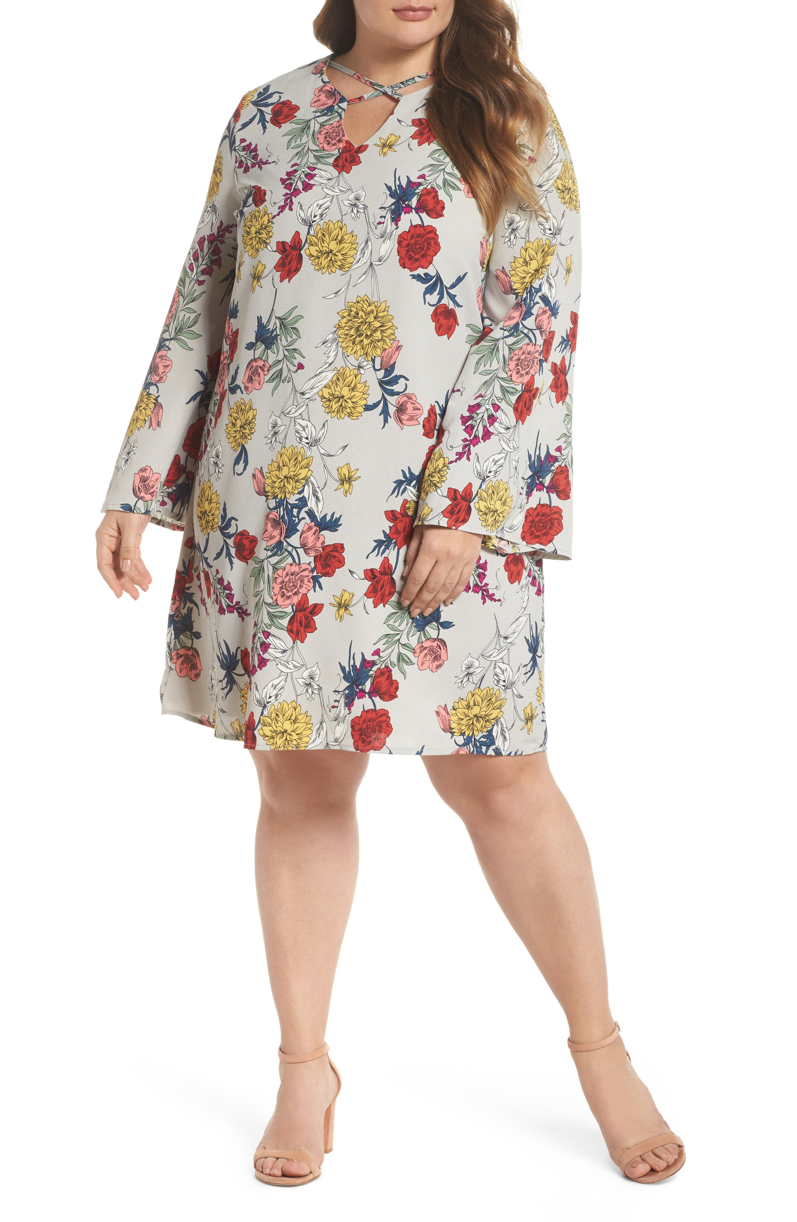 Print Bell Sleeve Shift Dress,                             Main thumbnail 1, color,                             Grey Multi Floral