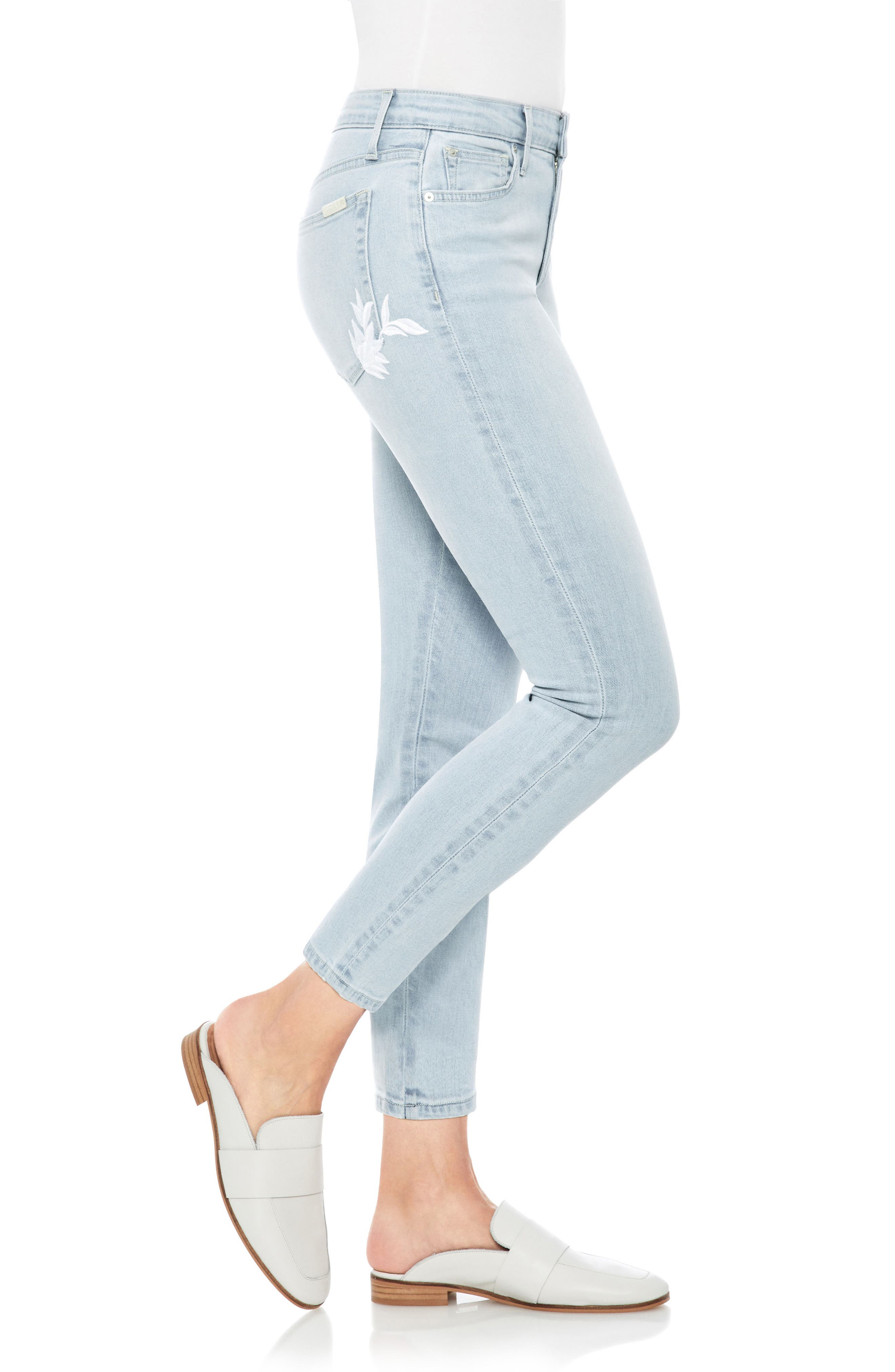 The Icon Embroidered Ankle Skinny Jeans,                             Alternate thumbnail 3, color,                             Alyce