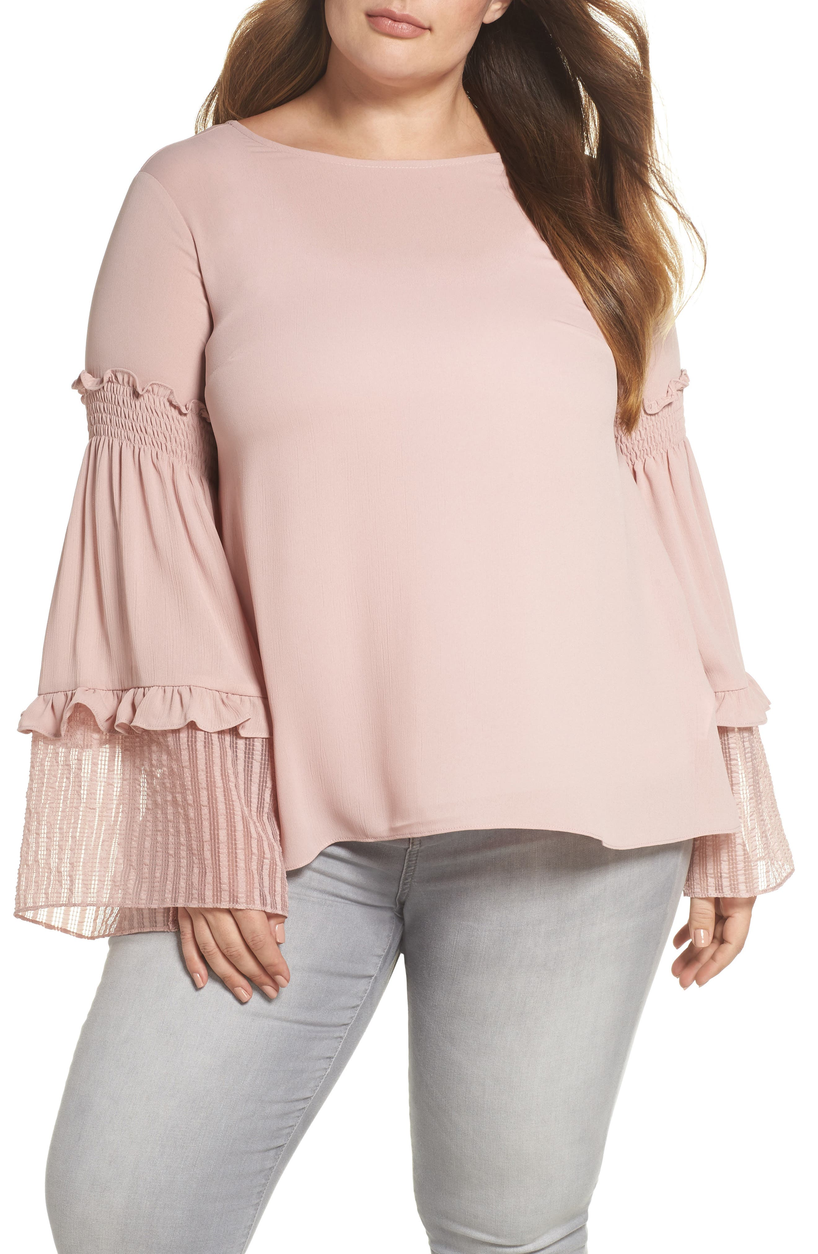 Shirred Sleeve Top,                         Main,                         color, Blush