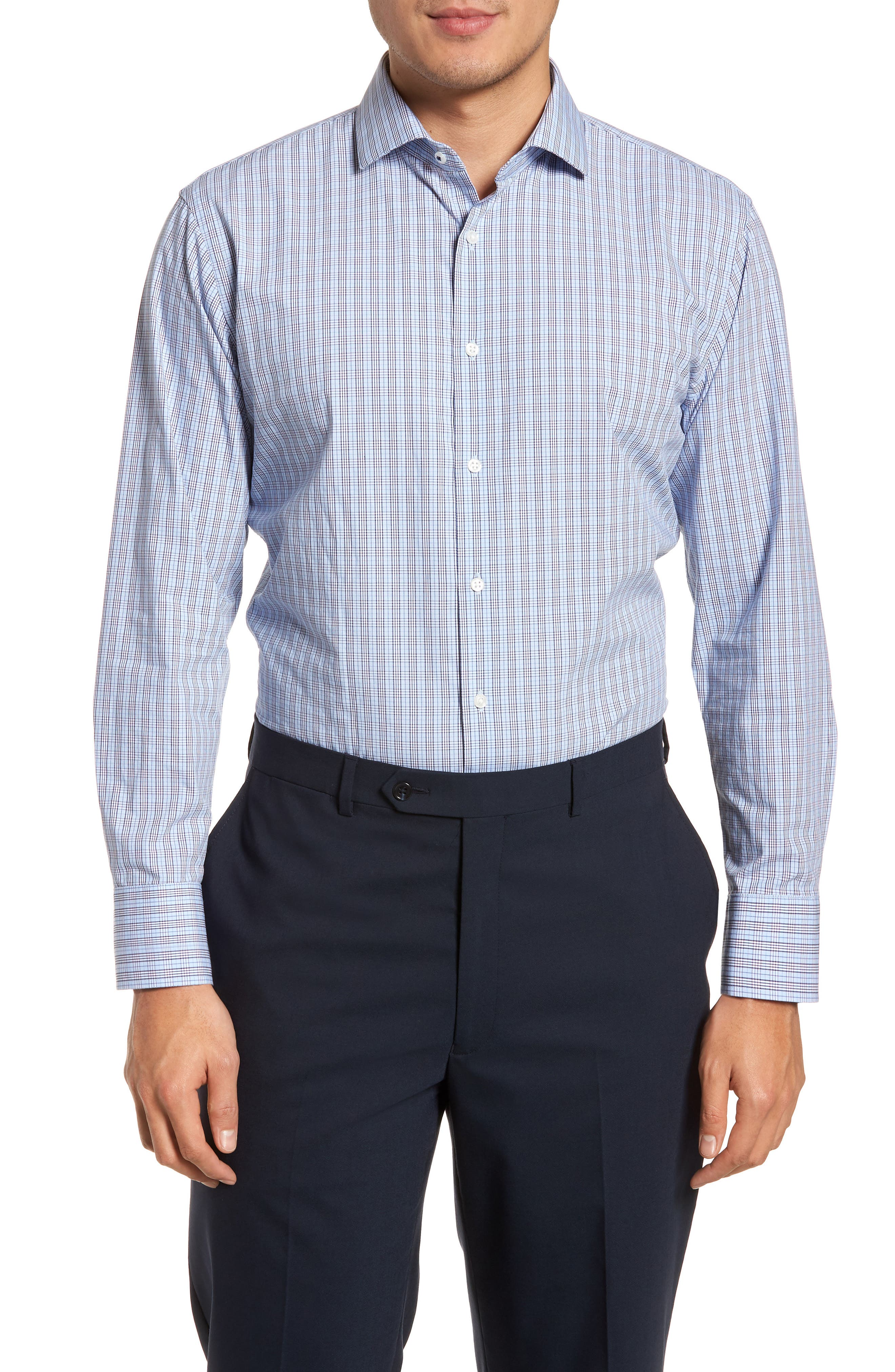 Main Image - Nordstrom Men's Shop Tech-Smart Trim Fit Grid Dress Shirt