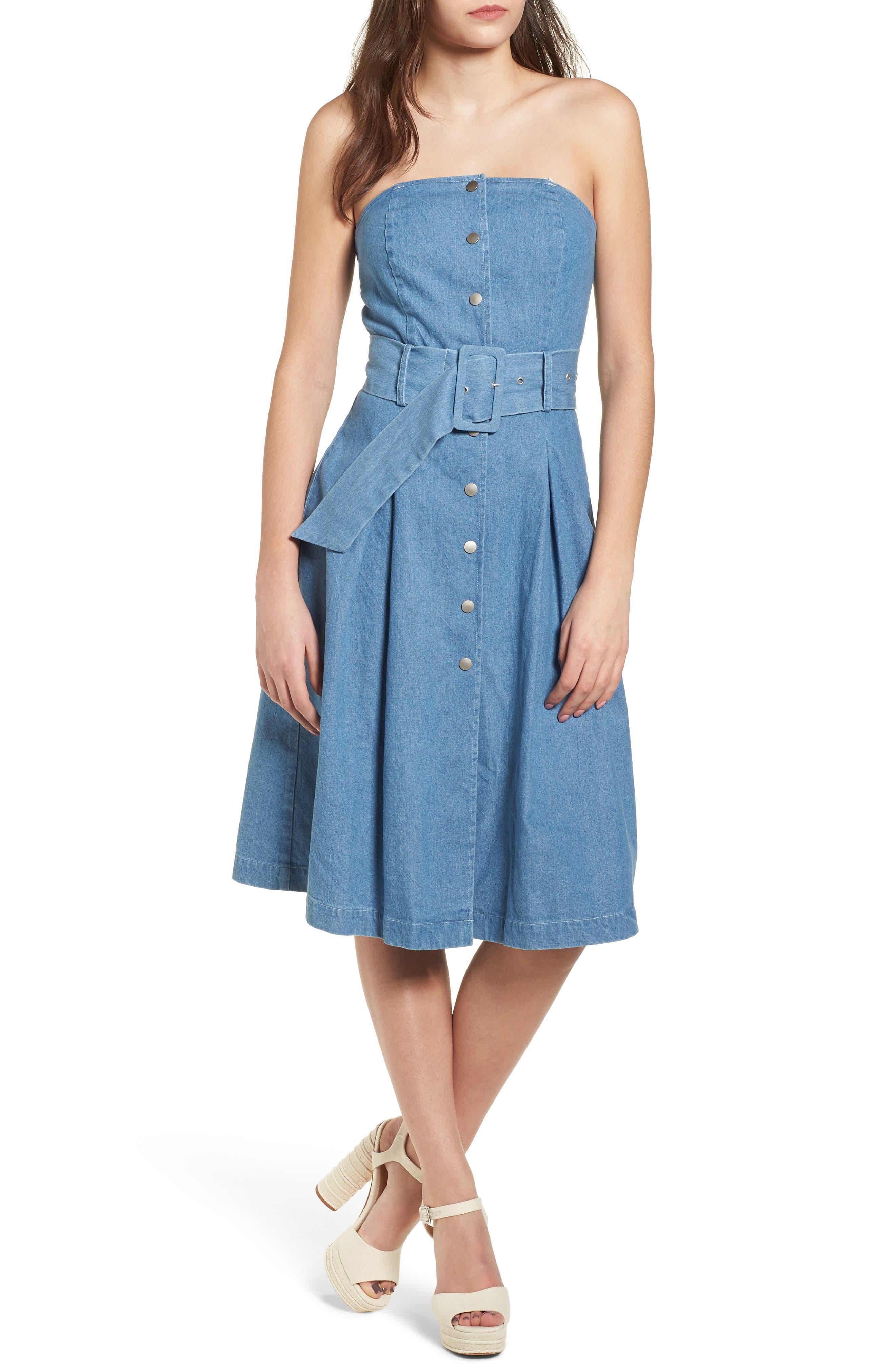 J.O.A. Strapless Denim Dress