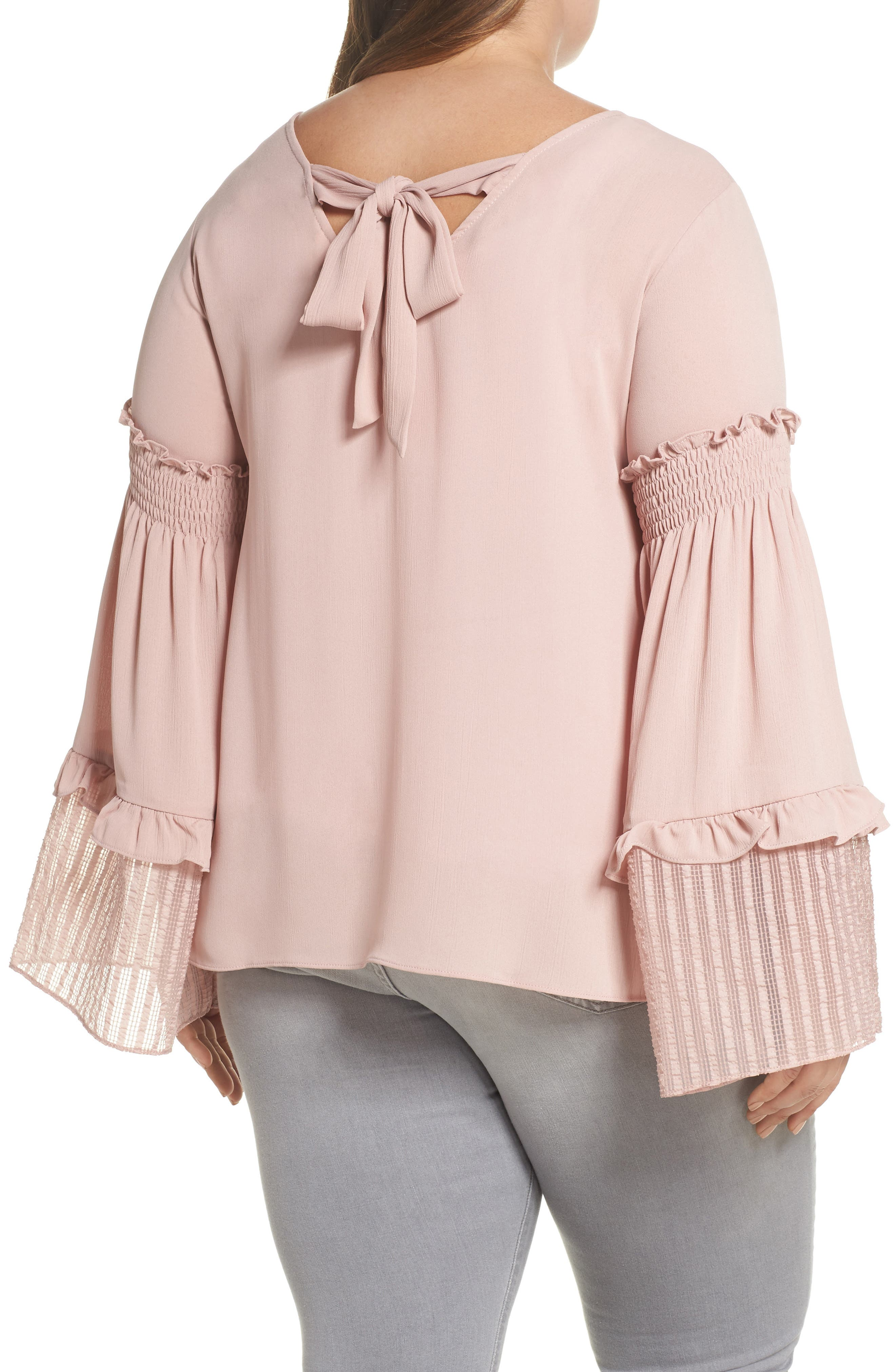 Shirred Sleeve Top,                             Alternate thumbnail 2, color,                             Blush