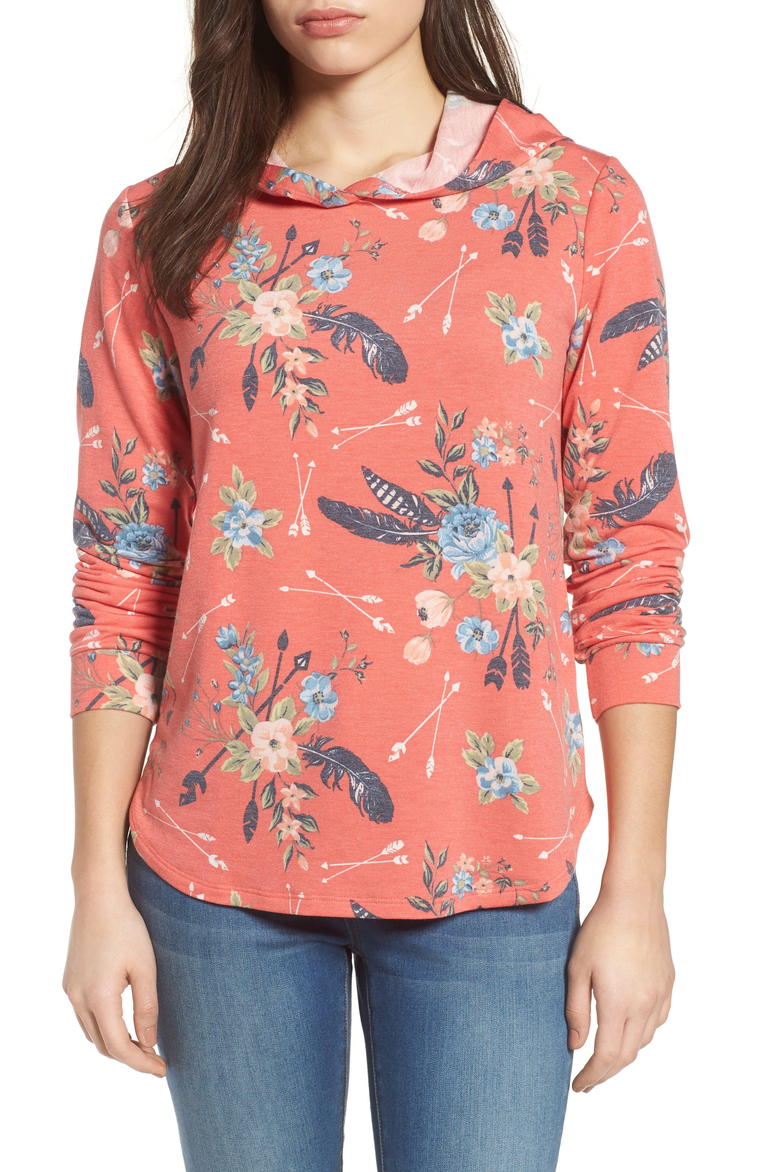Printed Hoodie Sweatshirt,                         Main,                         color, Coral Poppy
