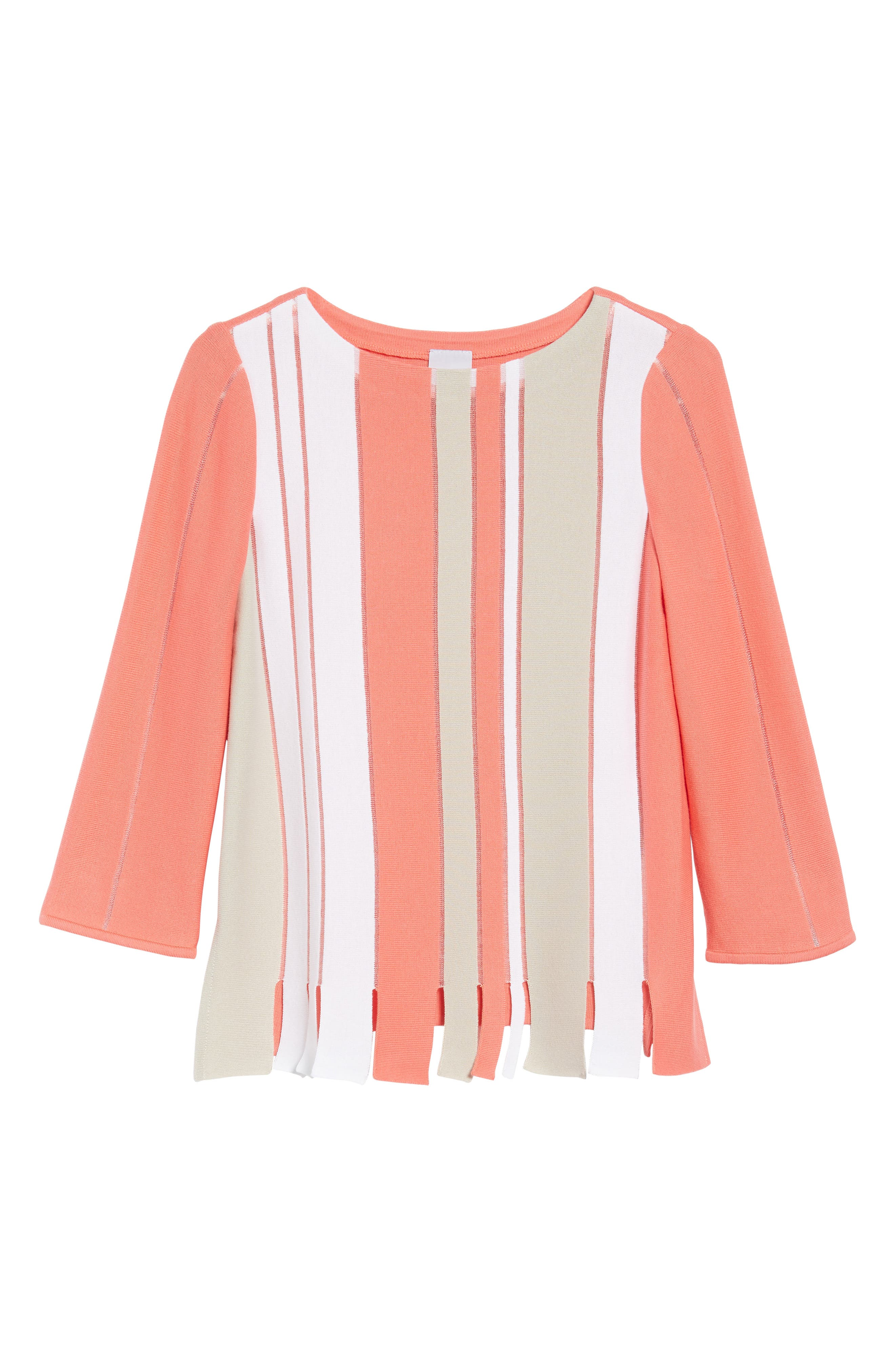 Stripe Cotton Blend Sweater,                             Alternate thumbnail 6, color,                             Daylily/ Almond Beige/ White