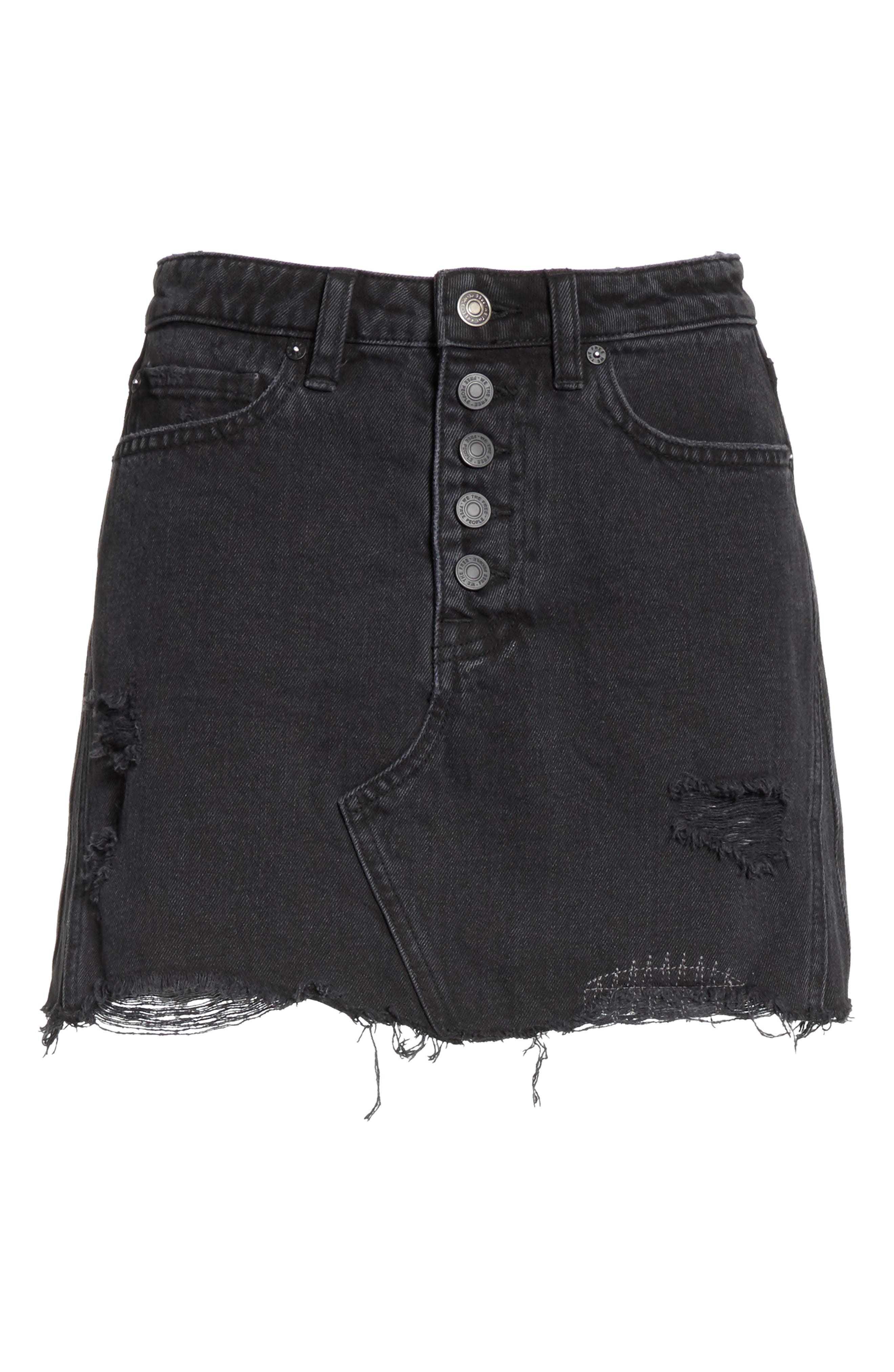 Denim A-Line Skirt,                             Alternate thumbnail 6, color,                             Black