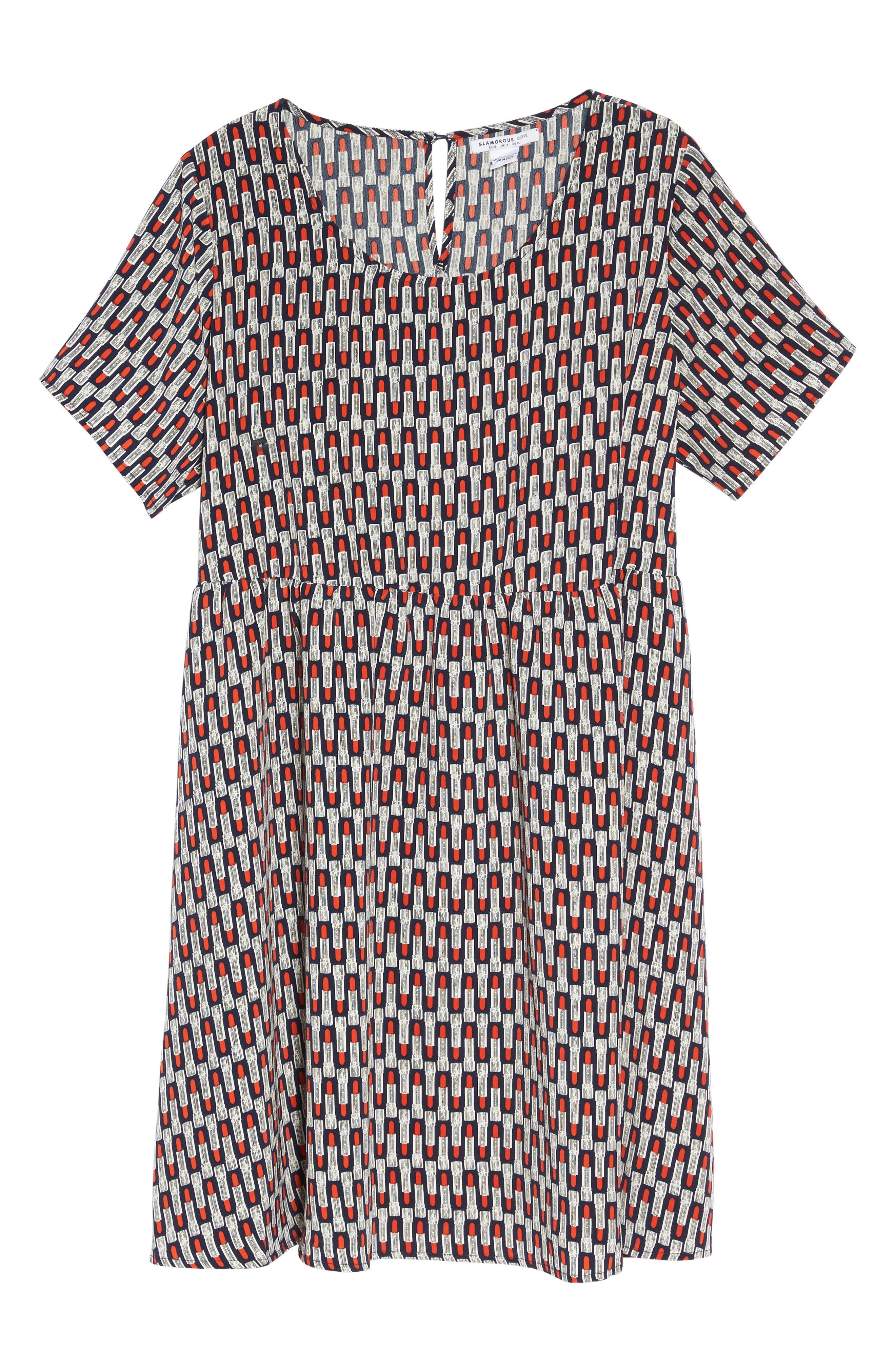 Lipstick Print Fit & Flare Dress,                             Alternate thumbnail 6, color,                             Navy Lipstick