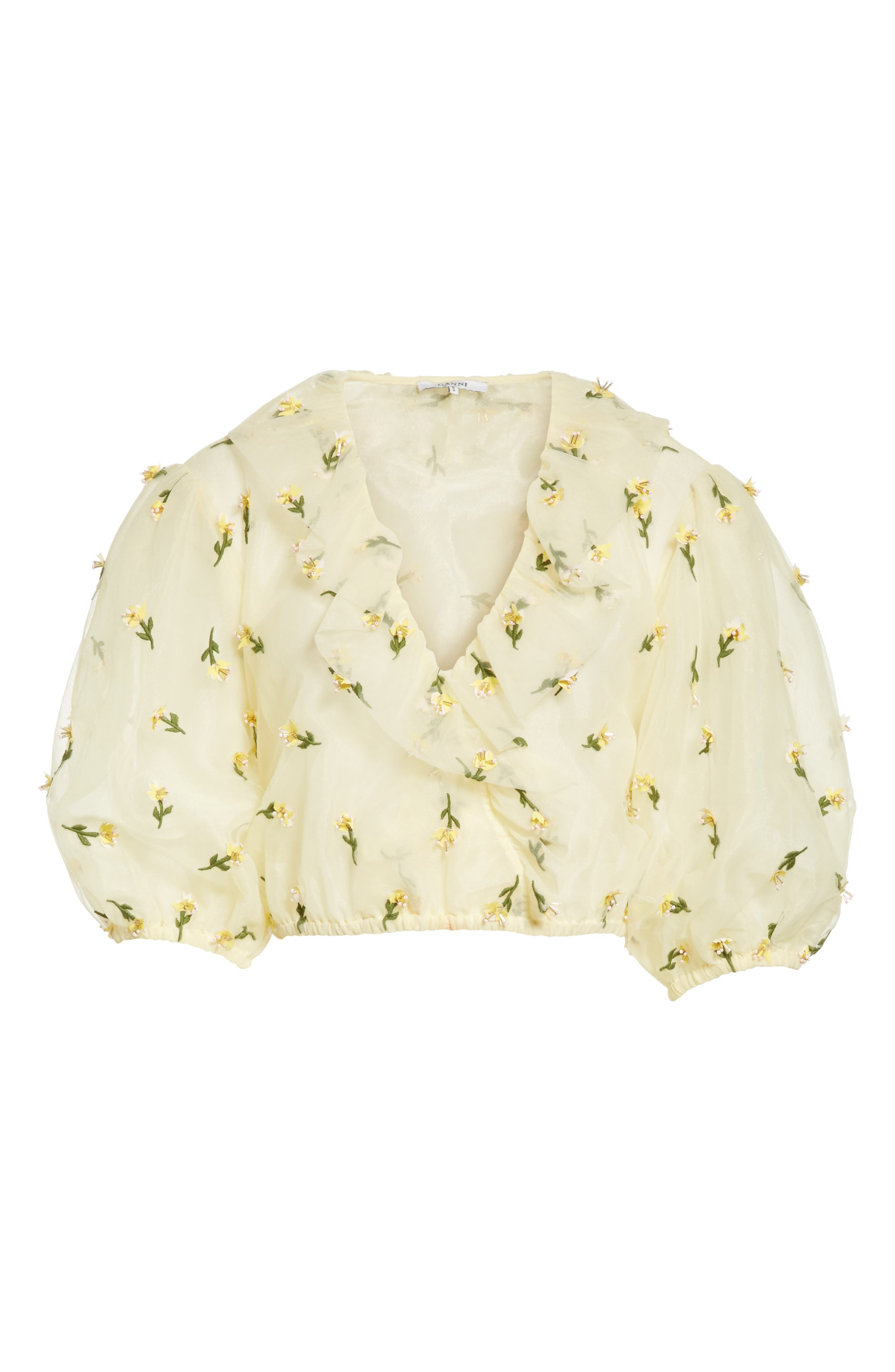 Bliss Embroidered Floral Wrap Top,                             Alternate thumbnail 6, color,                             Anise Flower