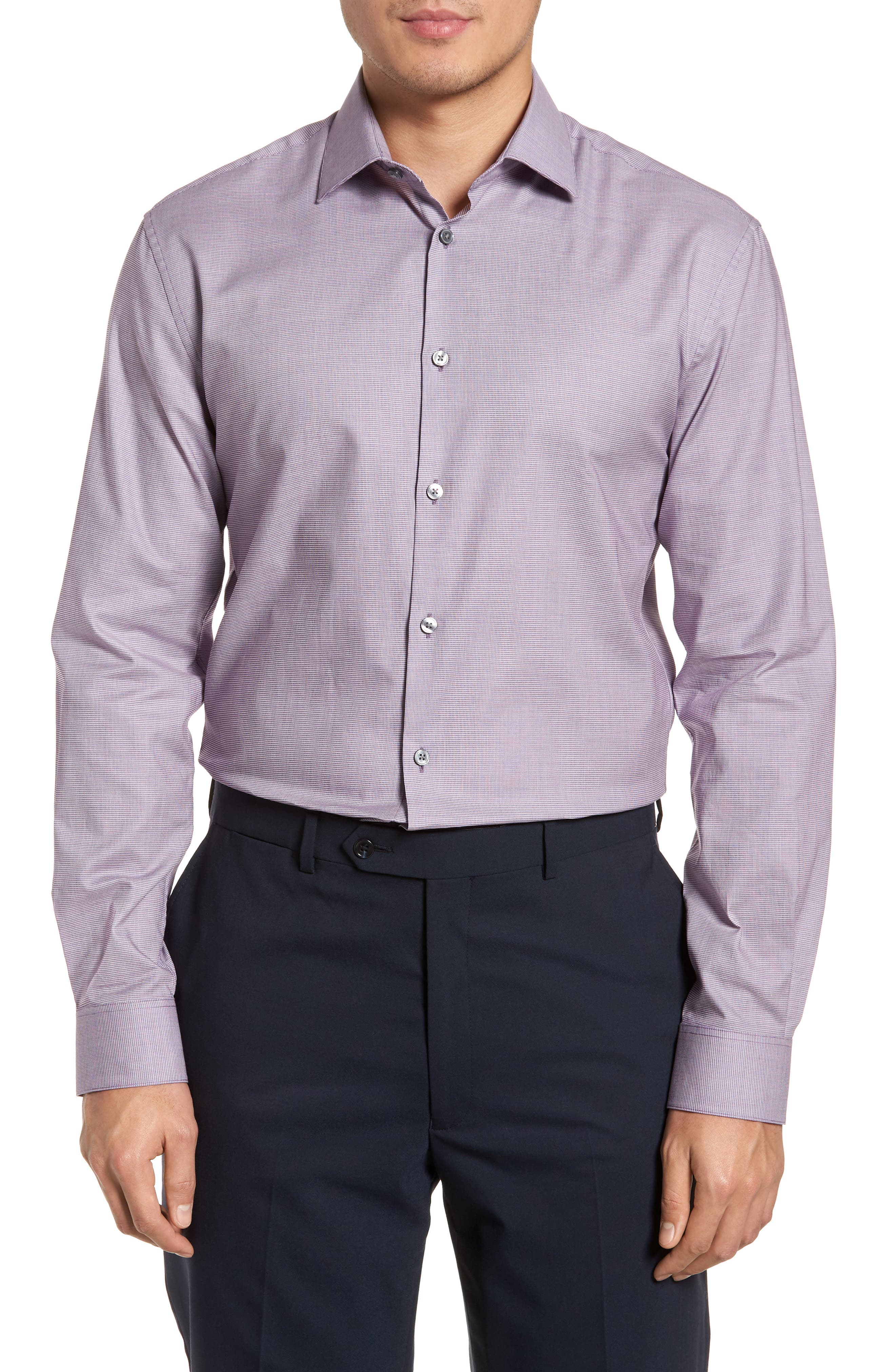 Slim Fit Stretch Microdot Dress Shirt,                         Main,                         color, Purple