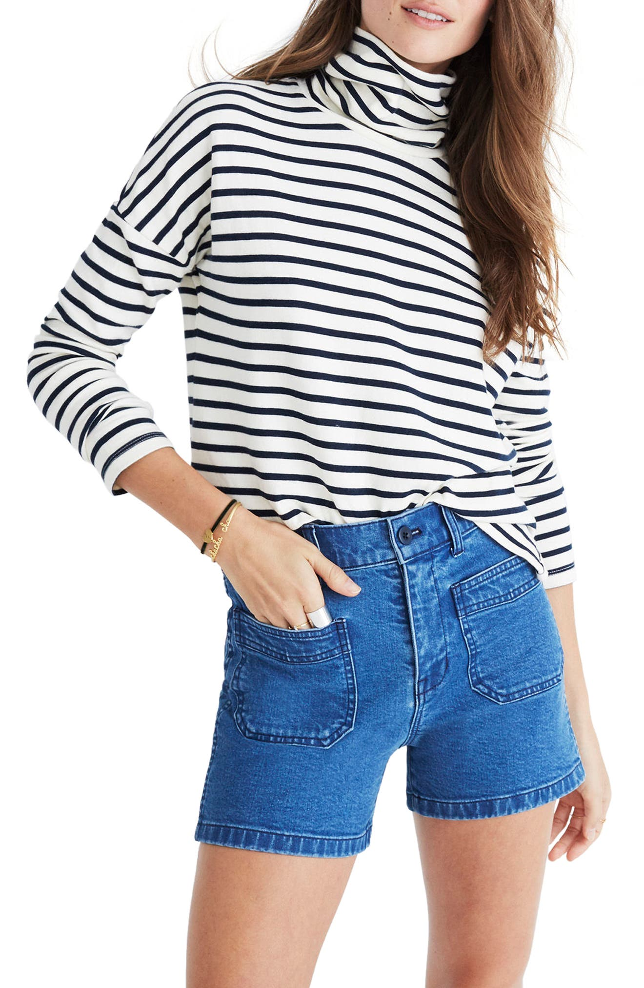 Patch Pocket High Waist Denim Shorts,                         Main,                         color, Stuart Wash