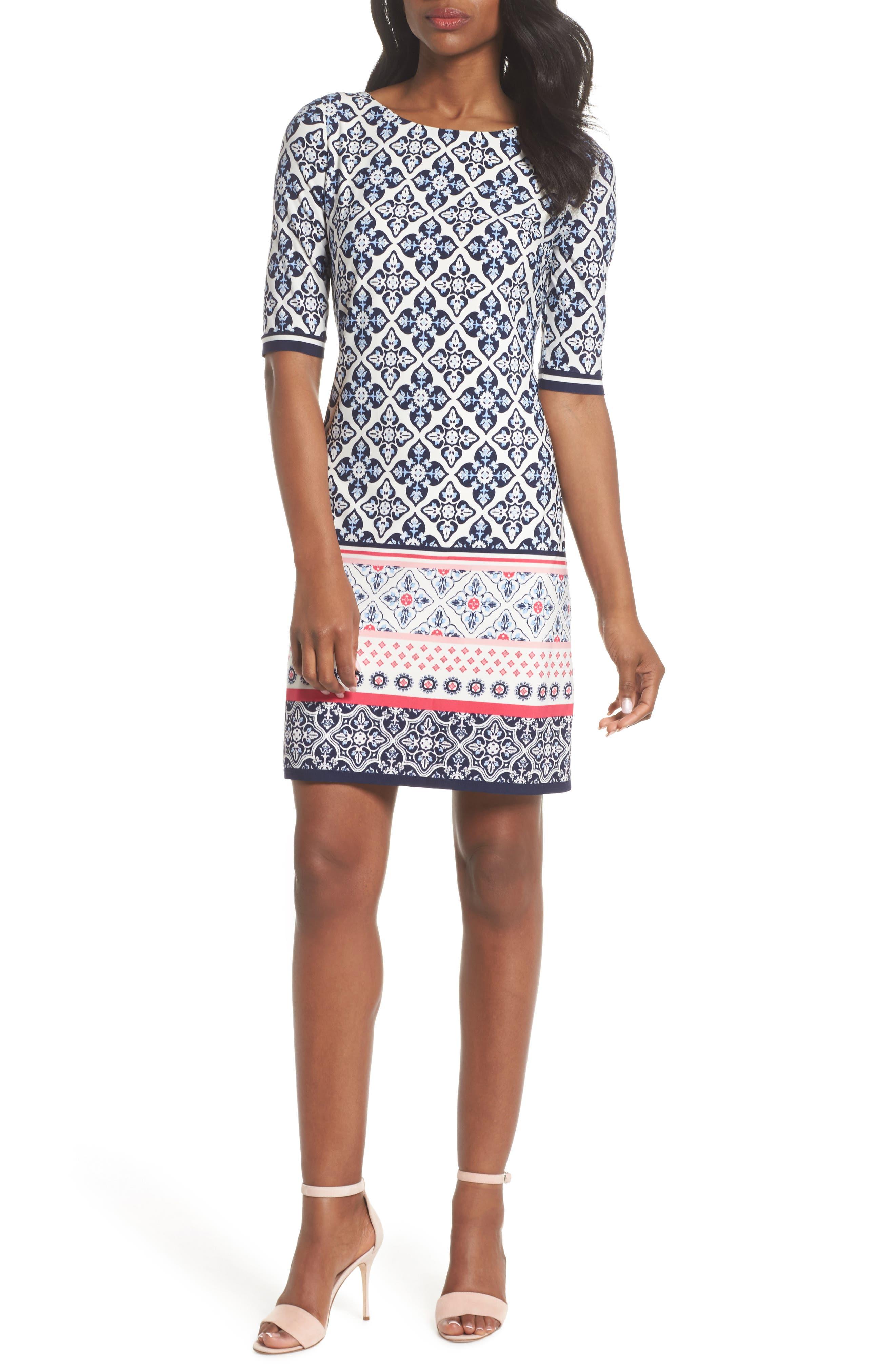 Print Sheath Dress,                             Main thumbnail 1, color,                             Black/ Pink