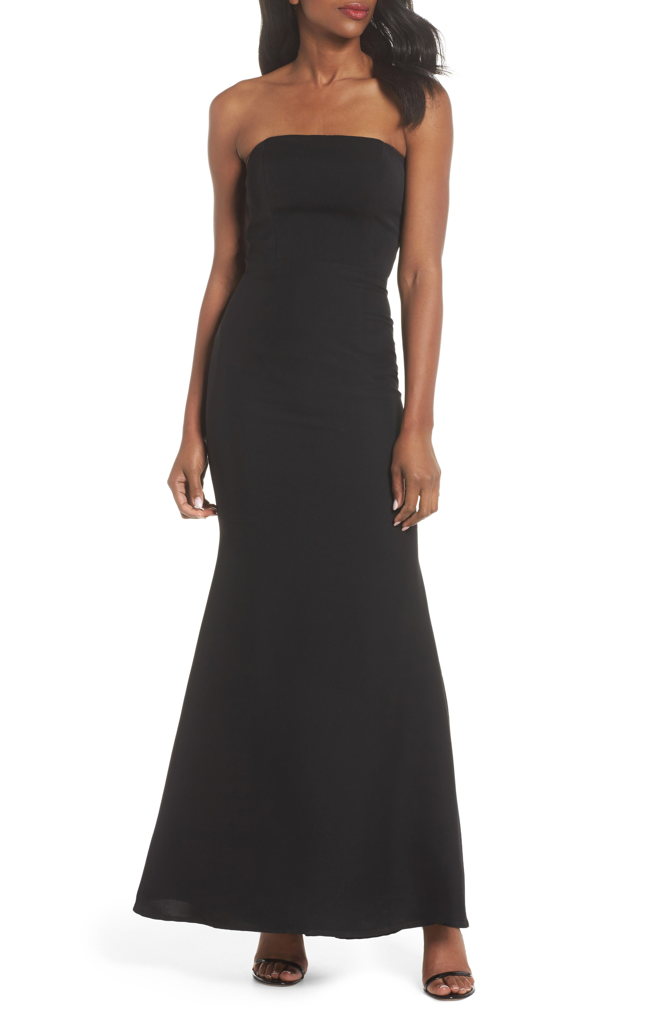 Miracle Strapless Gown,                         Main,                         color, Black