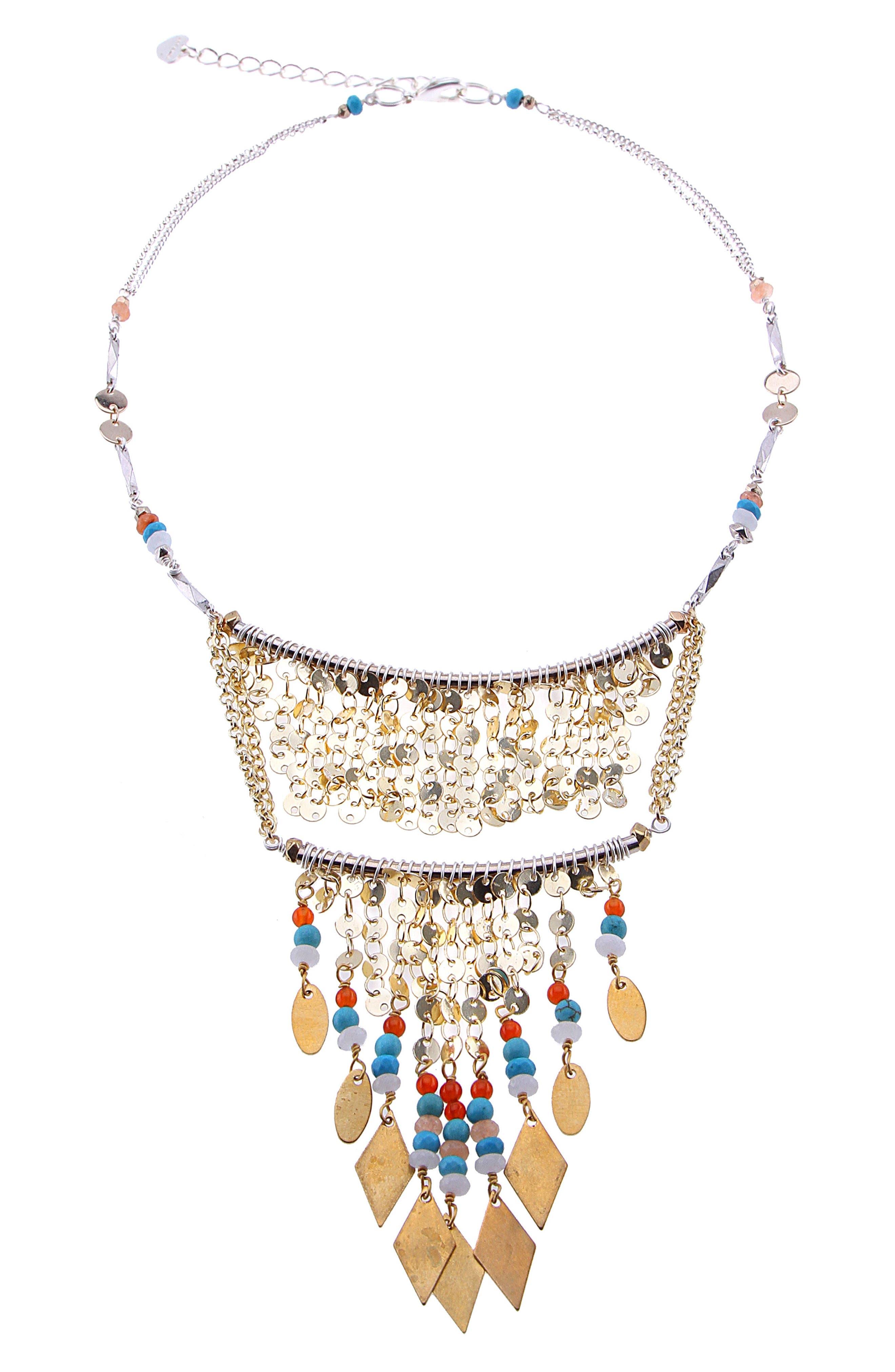 Double Layer Beaded Fringe Bib Necklace,                         Main,                         color, Turquoise
