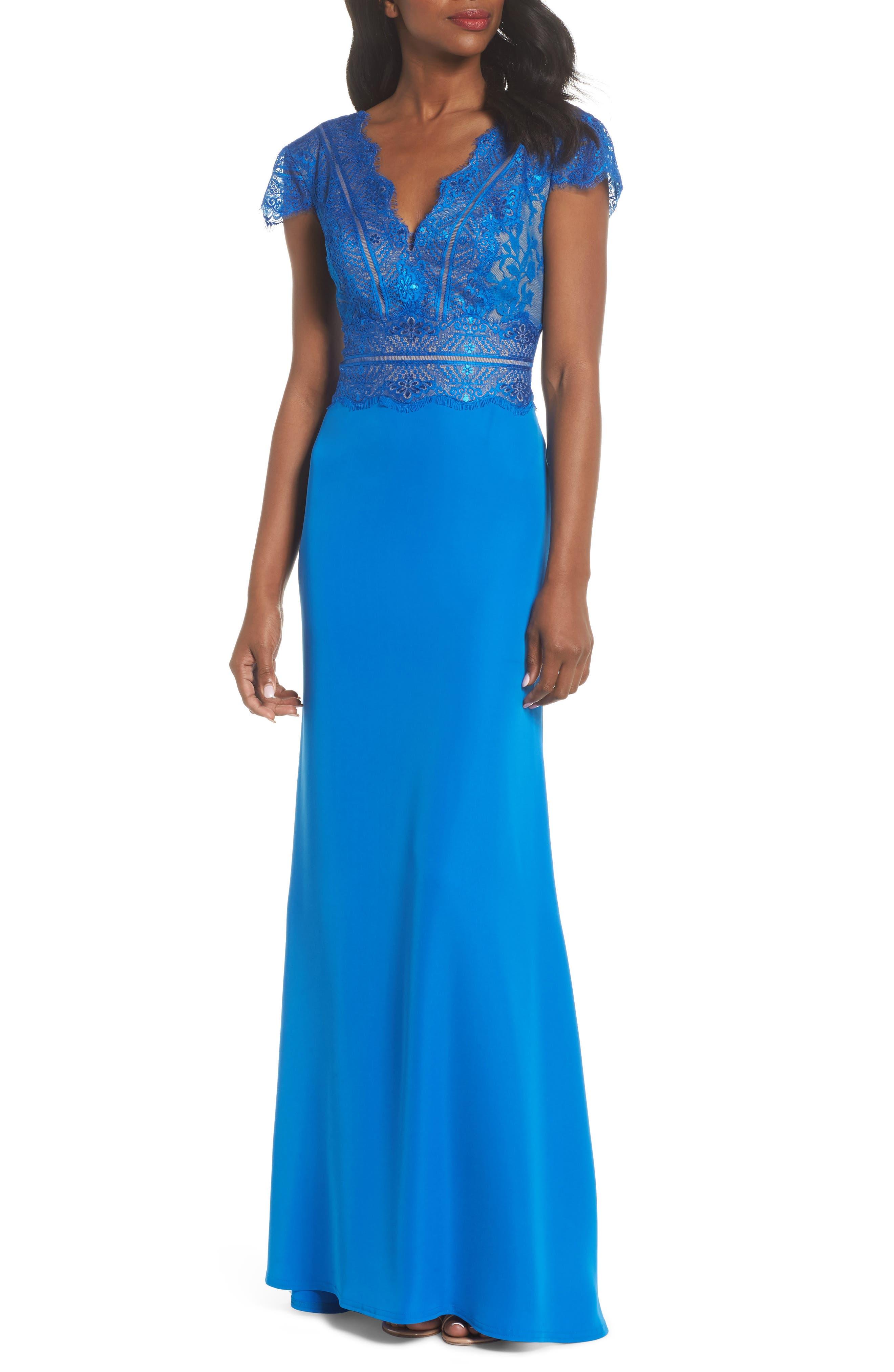 Lace & Crepe A-Line Gown,                             Main thumbnail 1, color,                             Azure