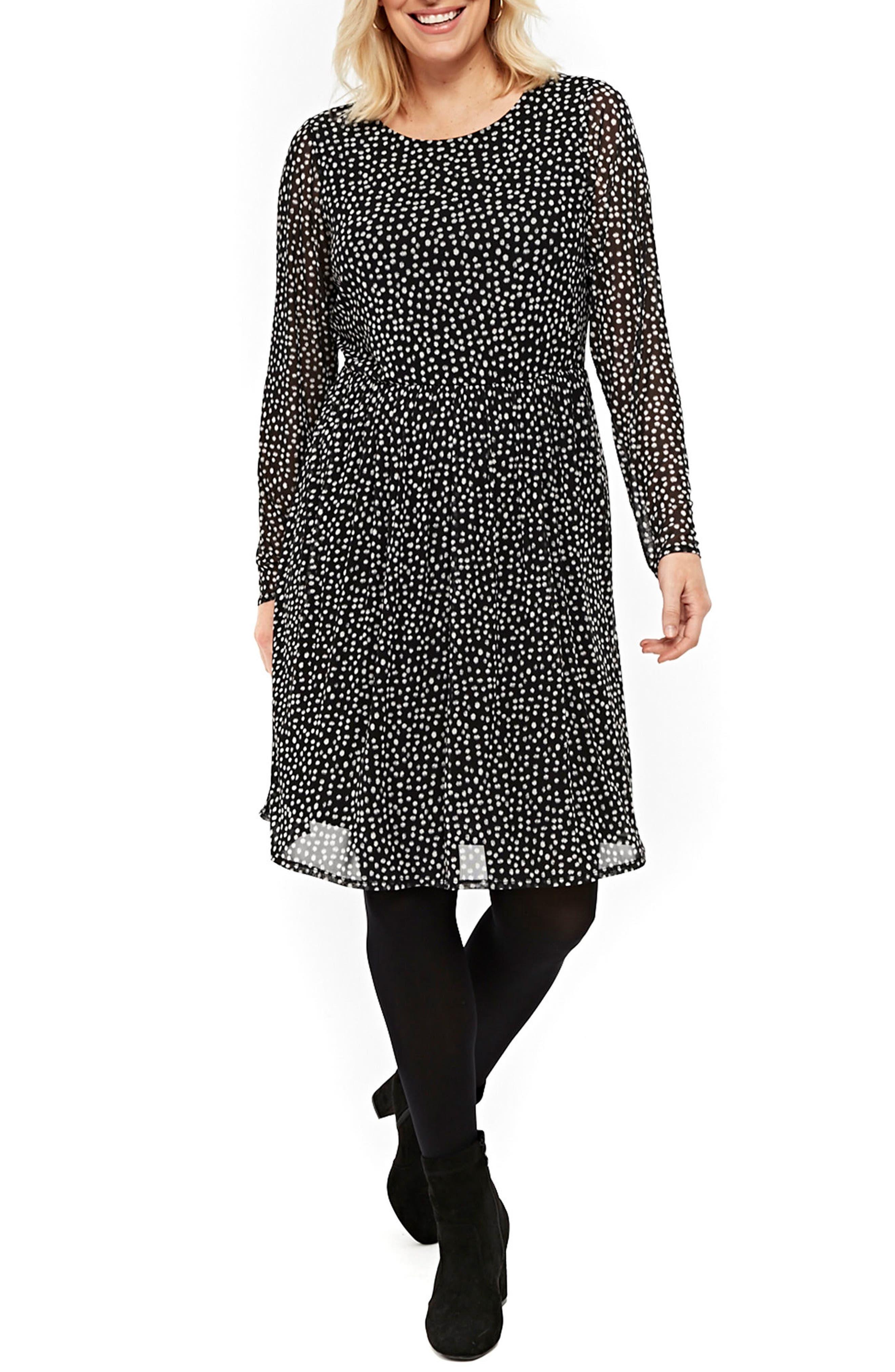 Smudge Print Fit & Flare Dress,                             Main thumbnail 1, color,                             Black