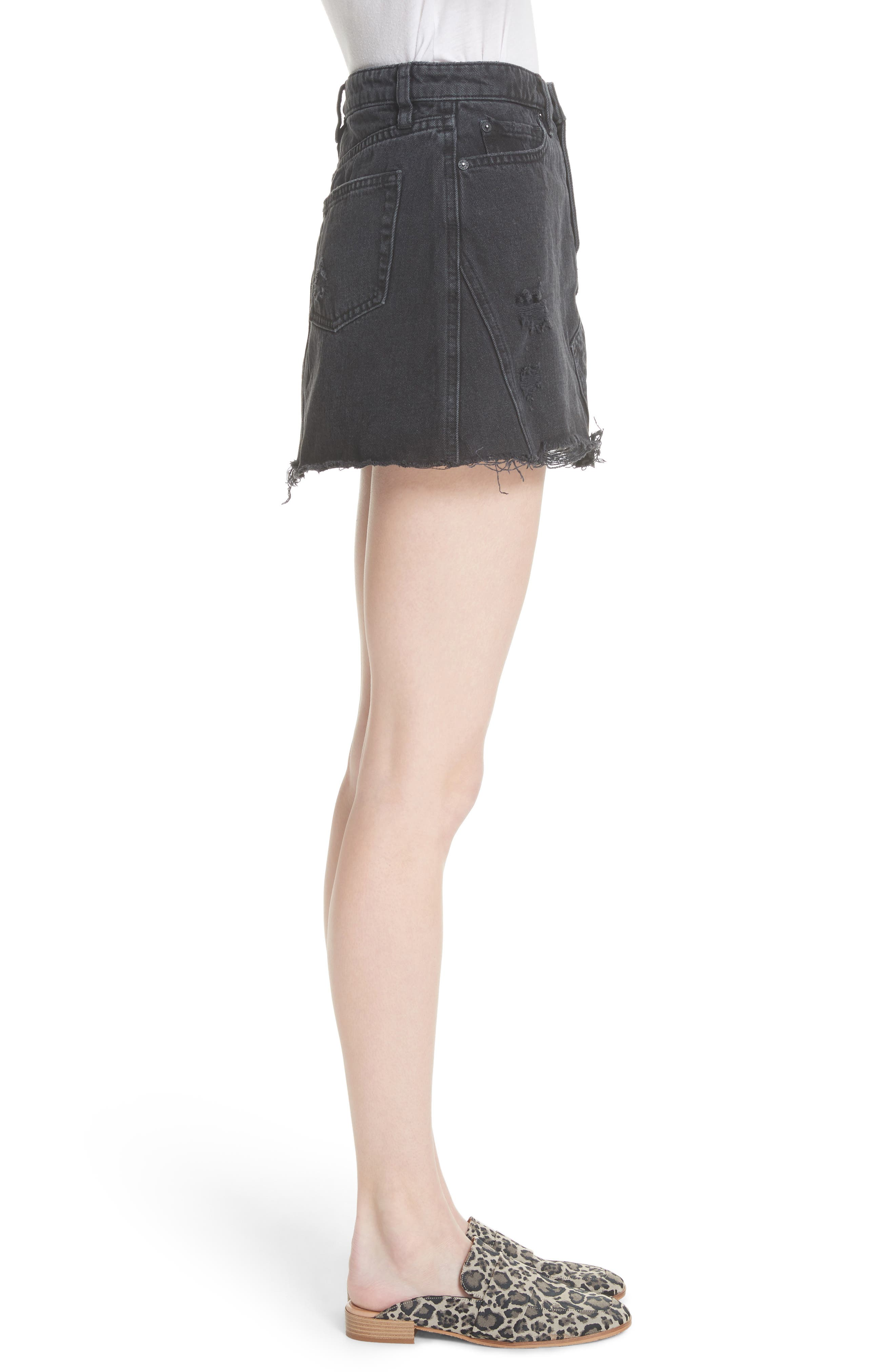 Denim A-Line Skirt,                             Alternate thumbnail 3, color,                             Black