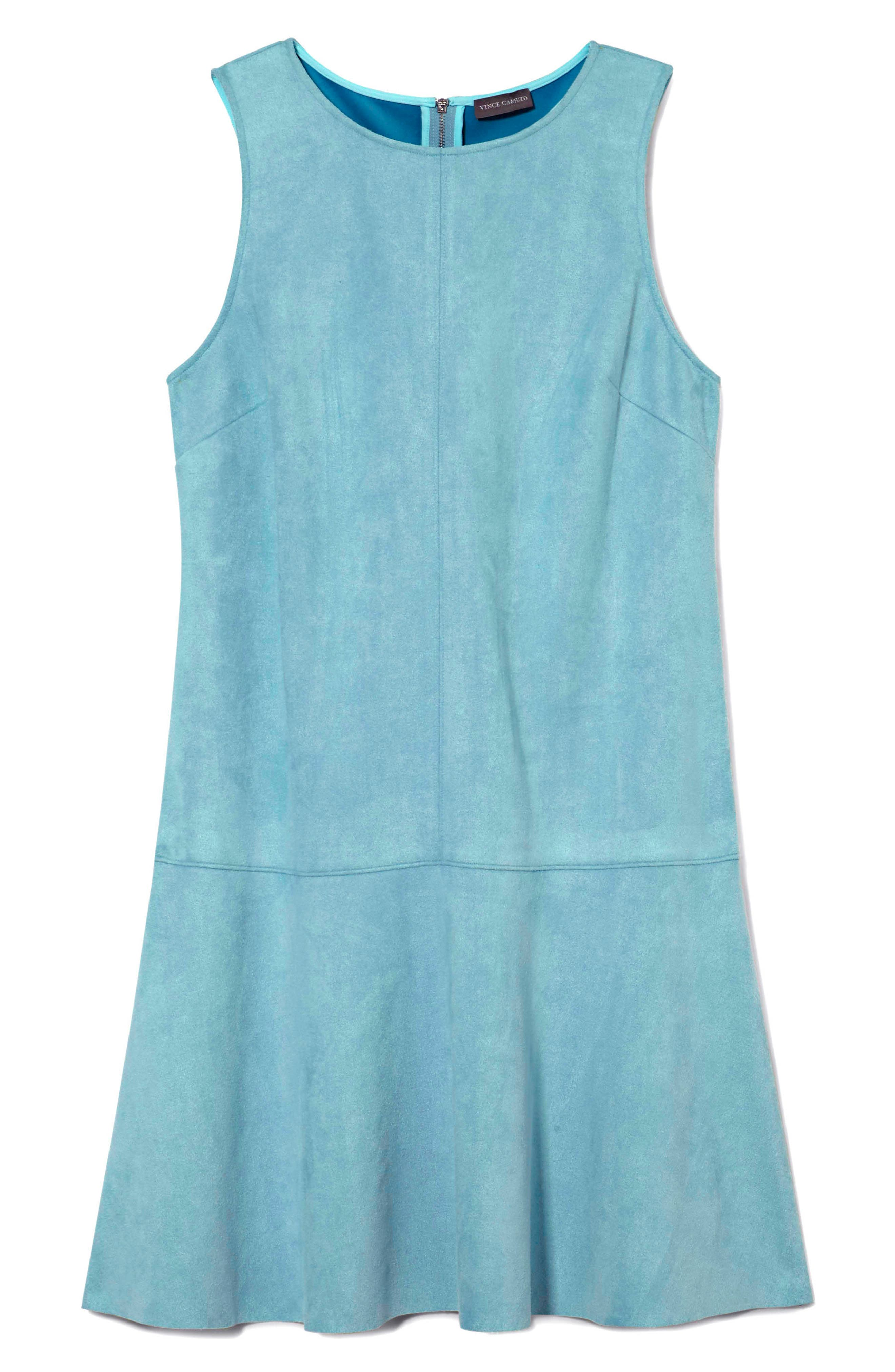 Faux Suede Drop Waist Dress,                             Alternate thumbnail 3, color,                             Ocean Tide