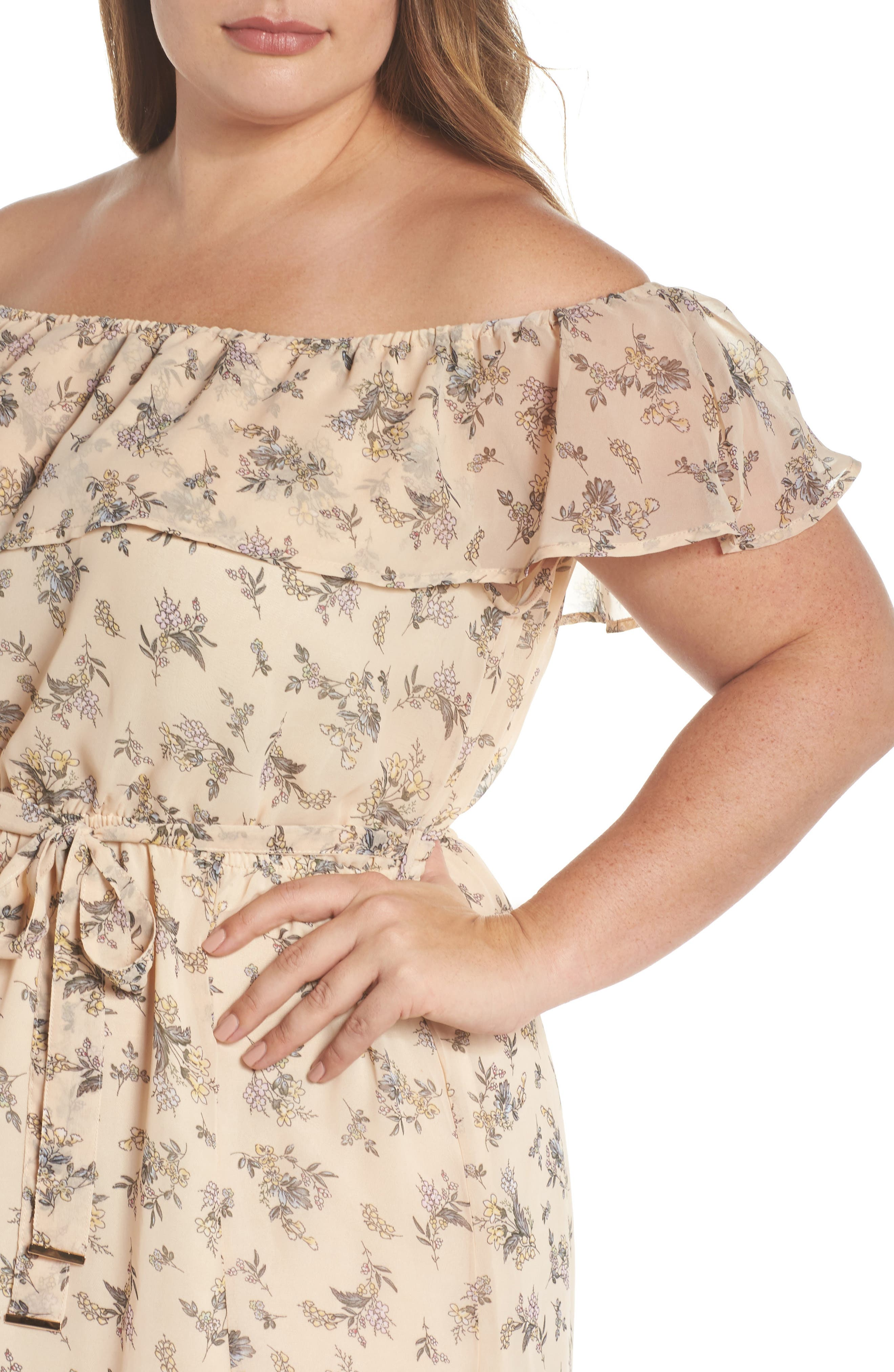 Print Off-the-Shoulder Maxi Dress,                             Alternate thumbnail 4, color,                             Nude Blush Floral