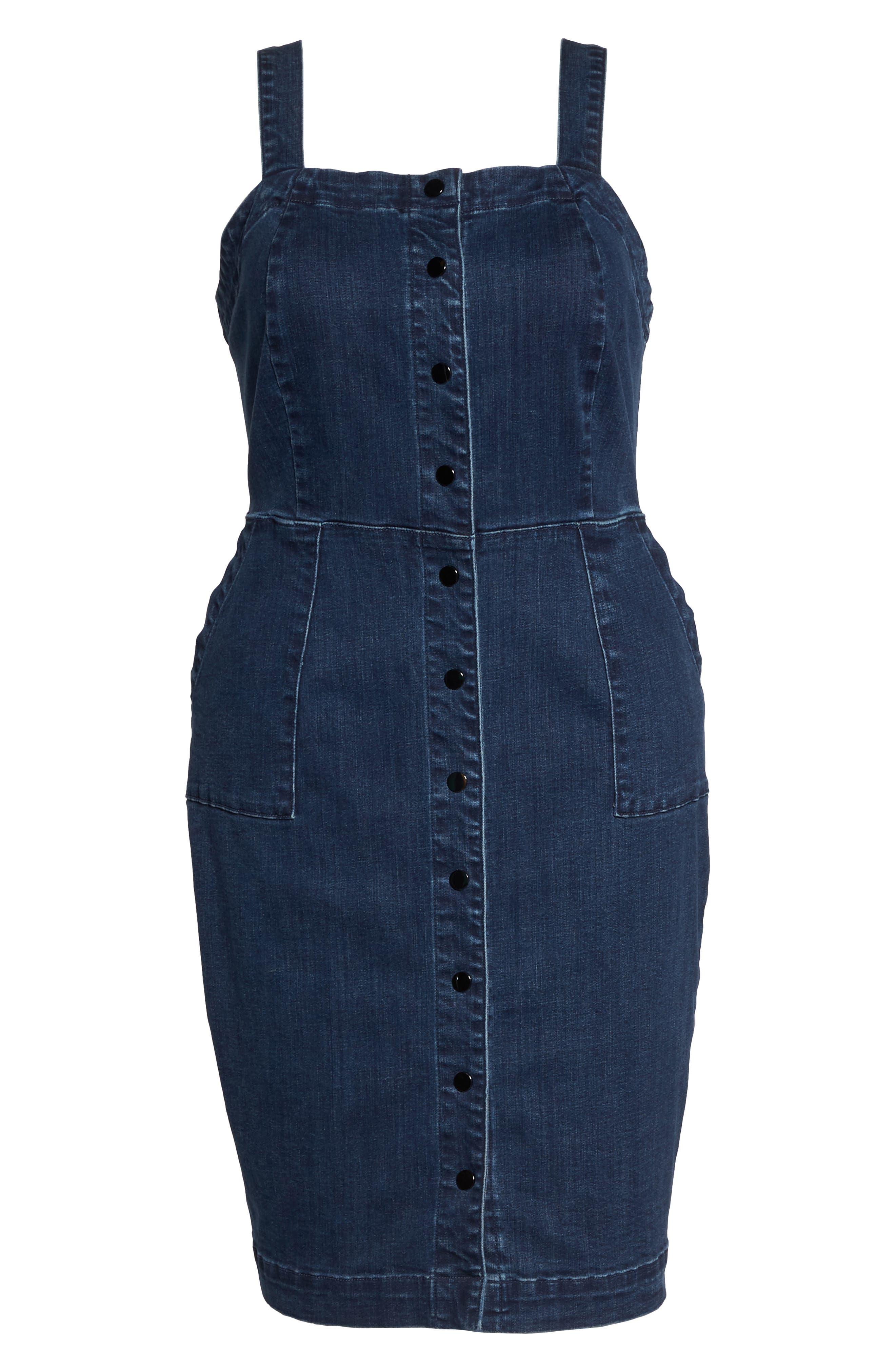 Denim Body-Con Dress,                             Alternate thumbnail 6, color,                             Del Mar