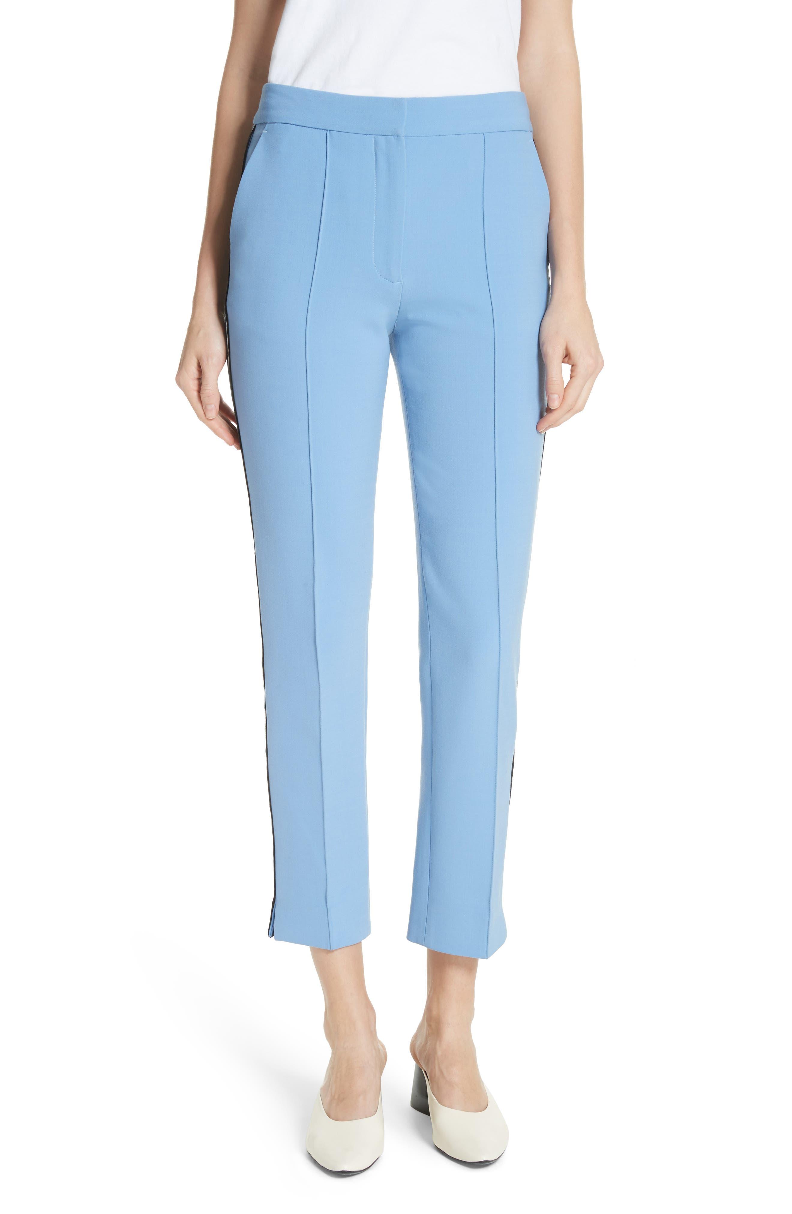 Stripe Split Hem Pants,                         Main,                         color, Lagoon Blue