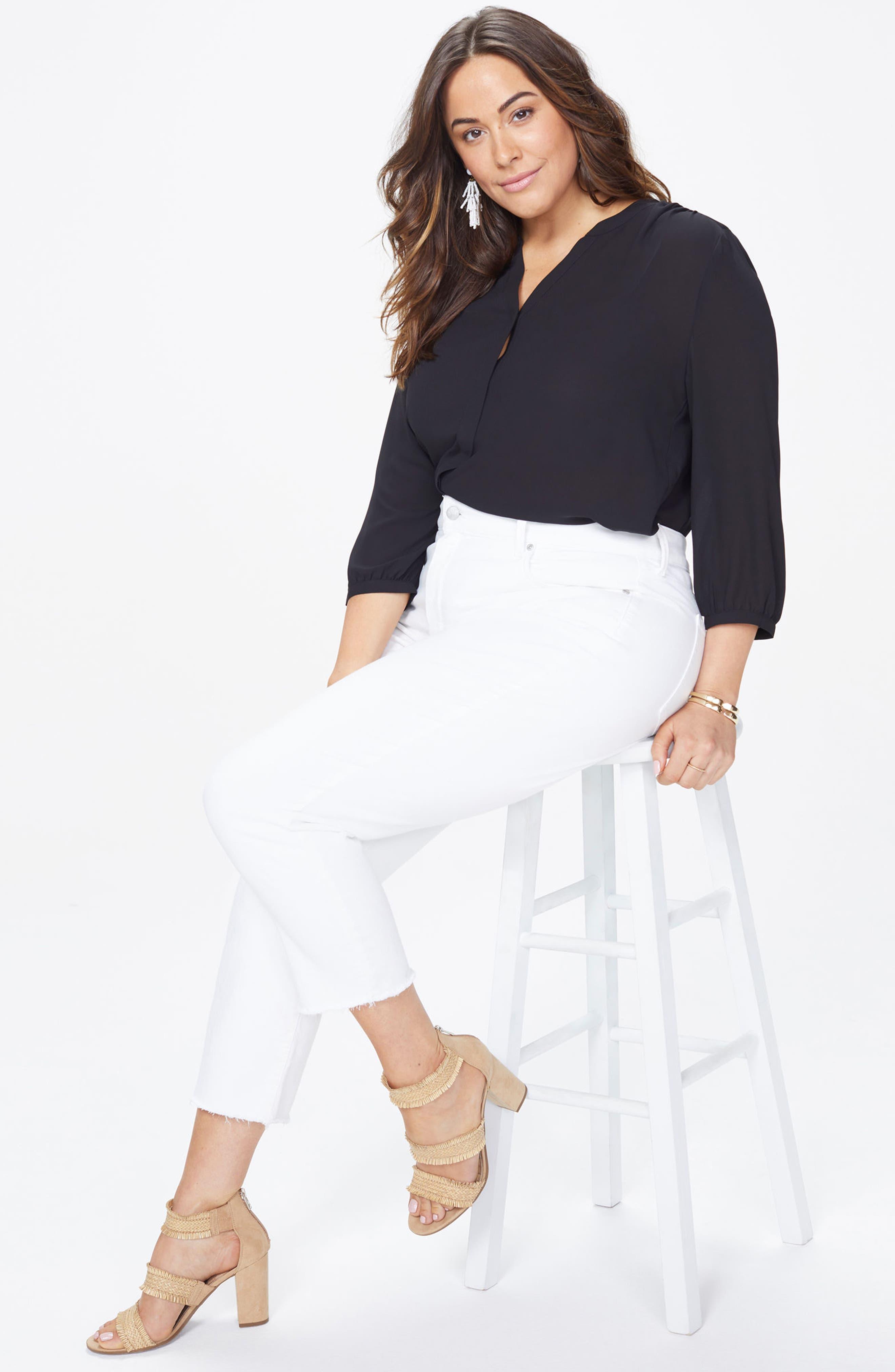 Sheri Fray Hem Stretch Slim Ankle Jeans,                             Alternate thumbnail 3, color,                             Optic White