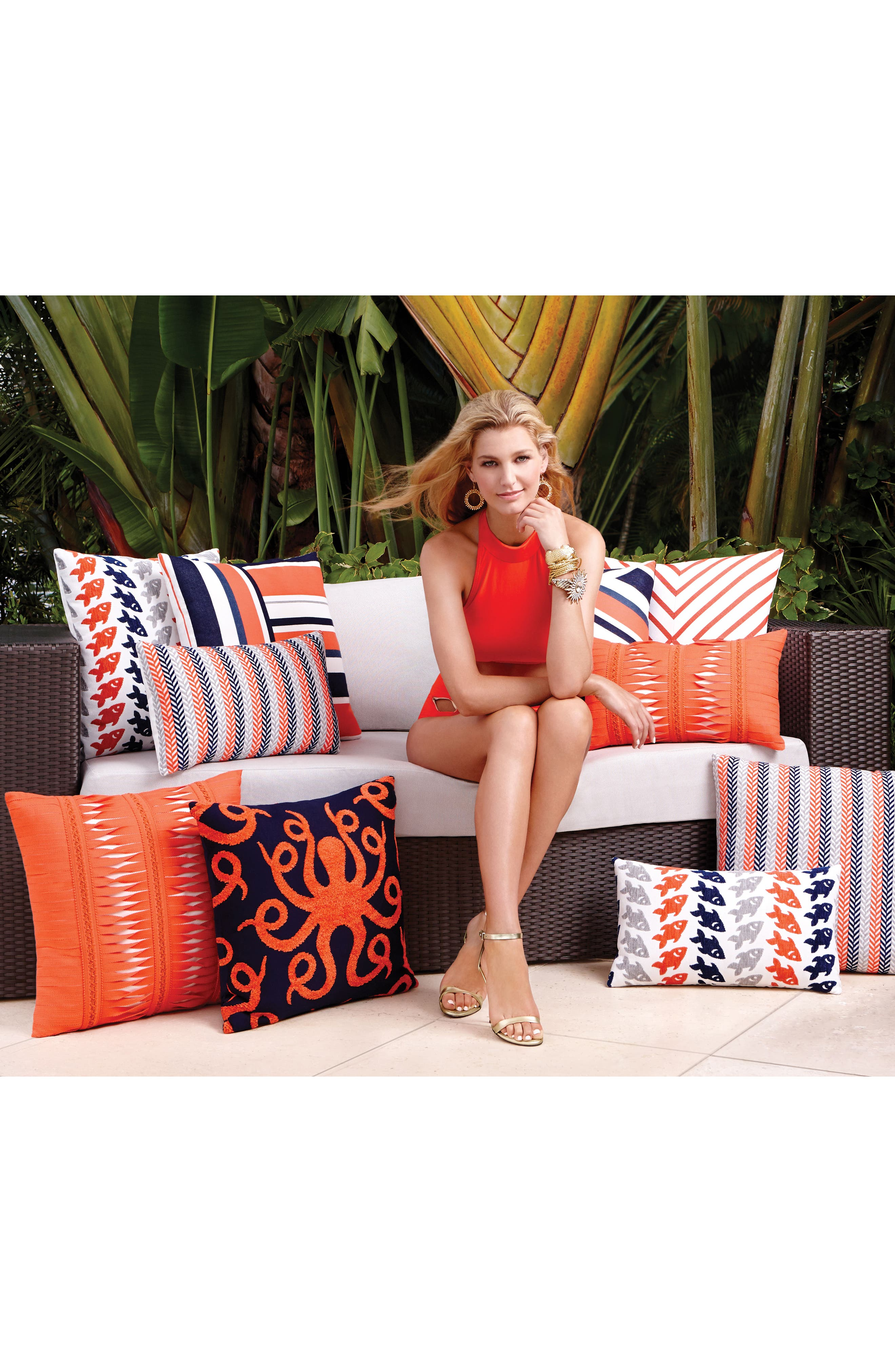 Gladiator Coral Indoor/Outdoor Accent Pillow,                             Alternate thumbnail 2, color,                             Orange
